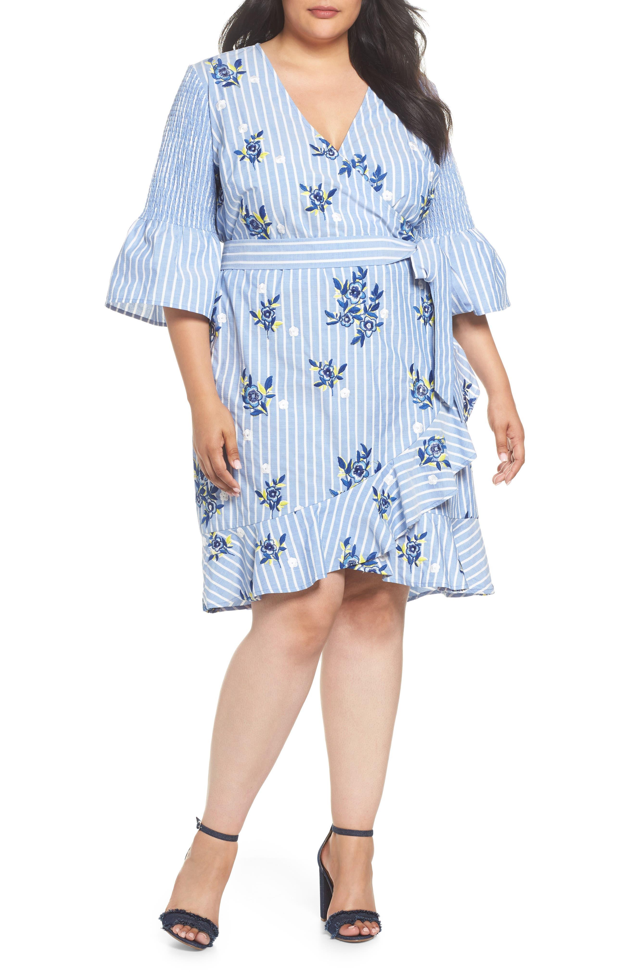 Embroidered Stripe Wrap Dress,                             Main thumbnail 1, color,                             Blue/ White