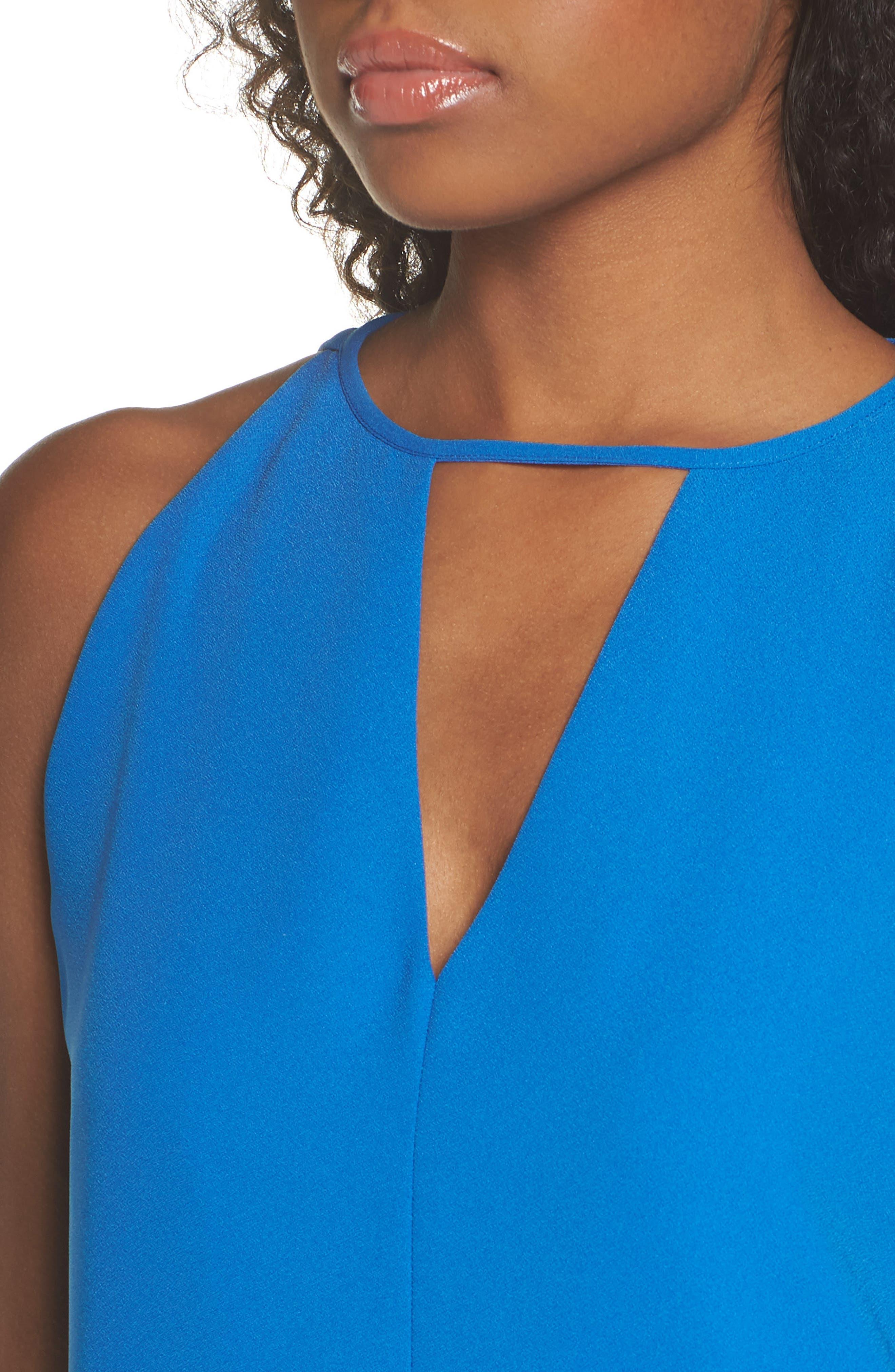 Keyhole Shift Dress,                             Alternate thumbnail 4, color,                             Cobalt
