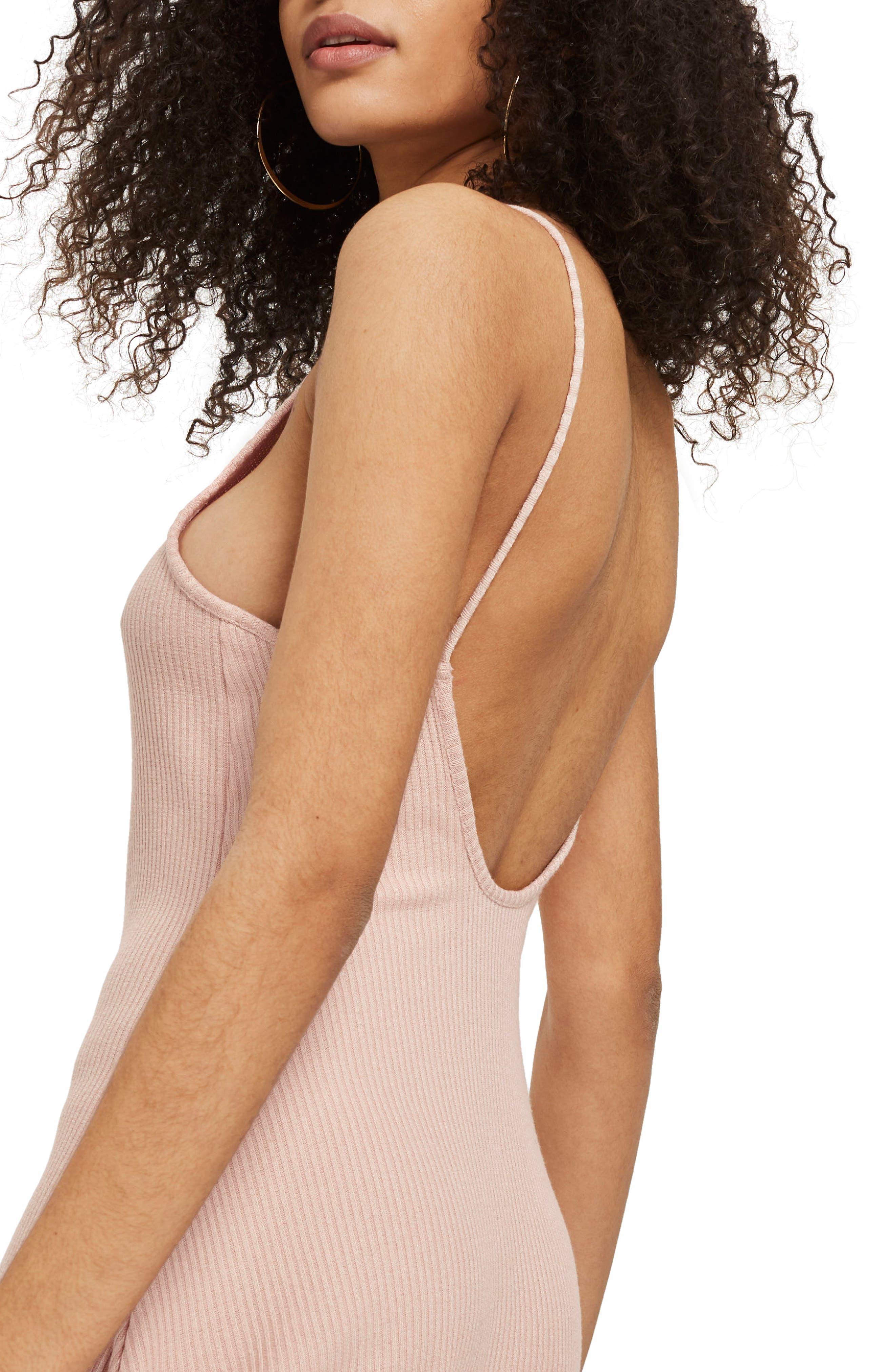 Rib Scoop Back Dress,                             Alternate thumbnail 3, color,                             Blush