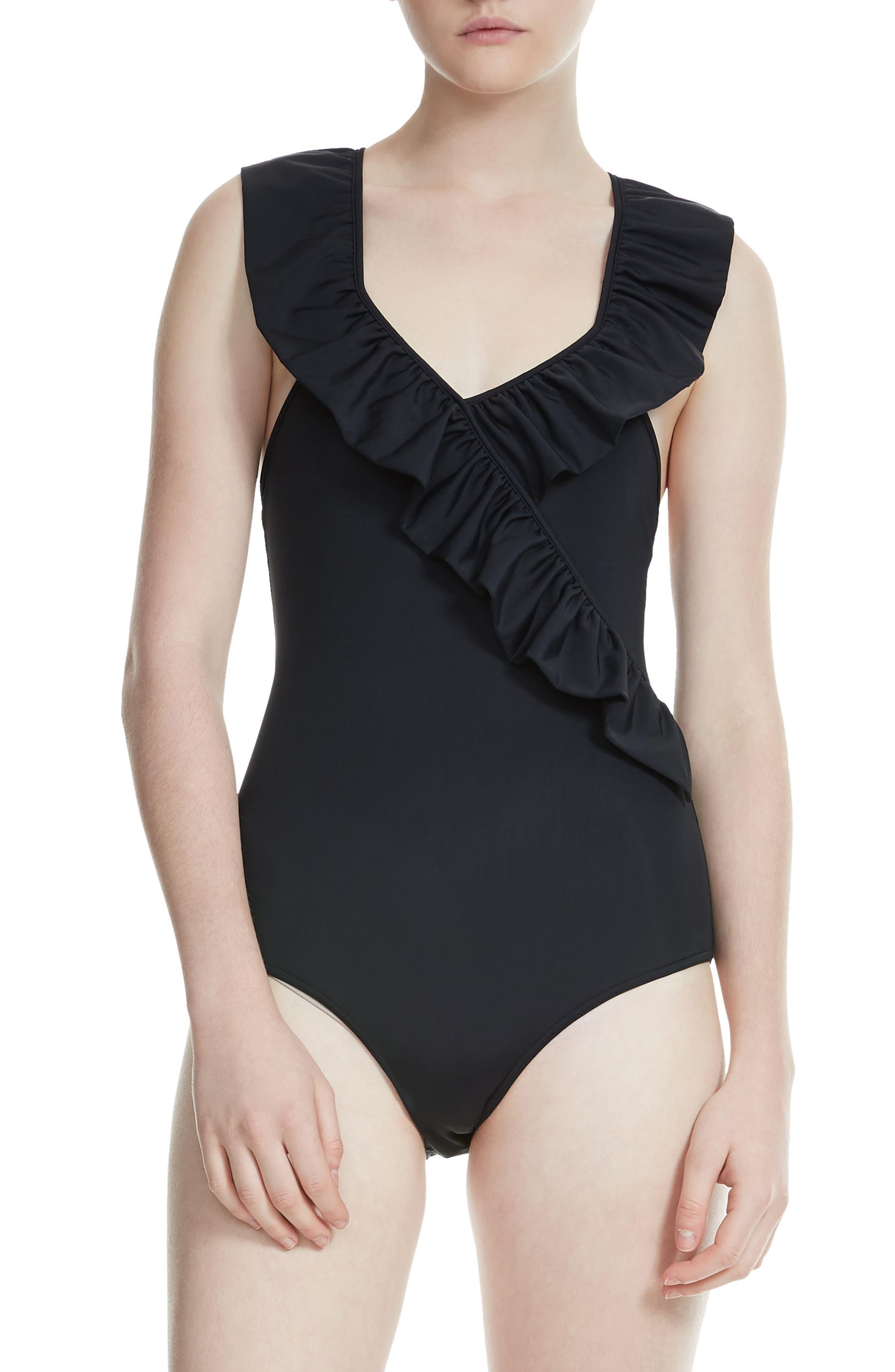 maje Ruffle One-Piece Swimsuit