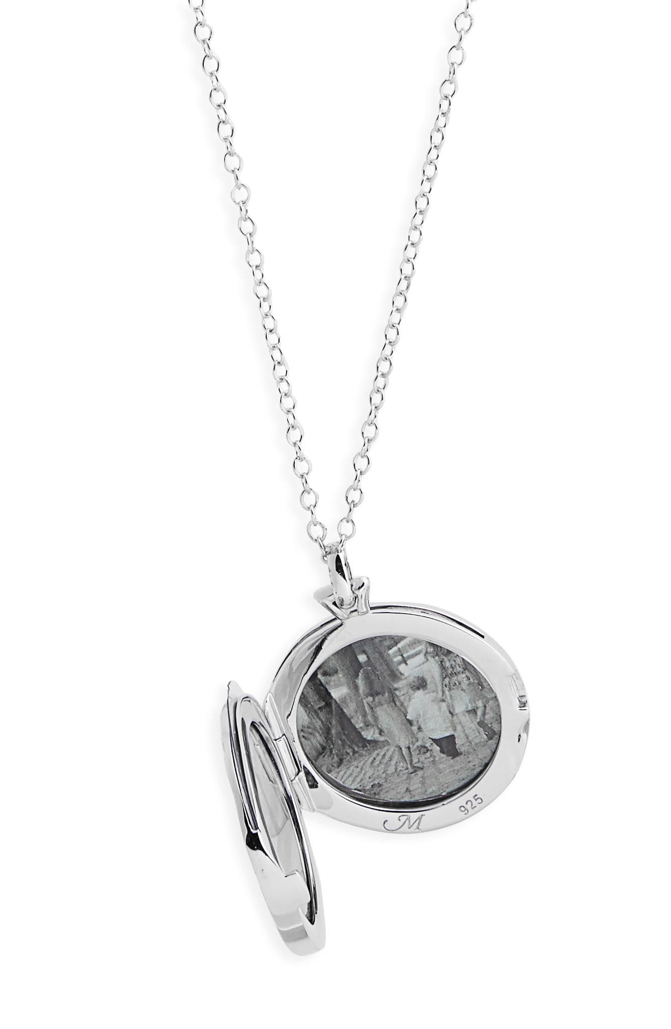 Round Floral Locket Necklace,                             Alternate thumbnail 3, color,                             Sterling Silver