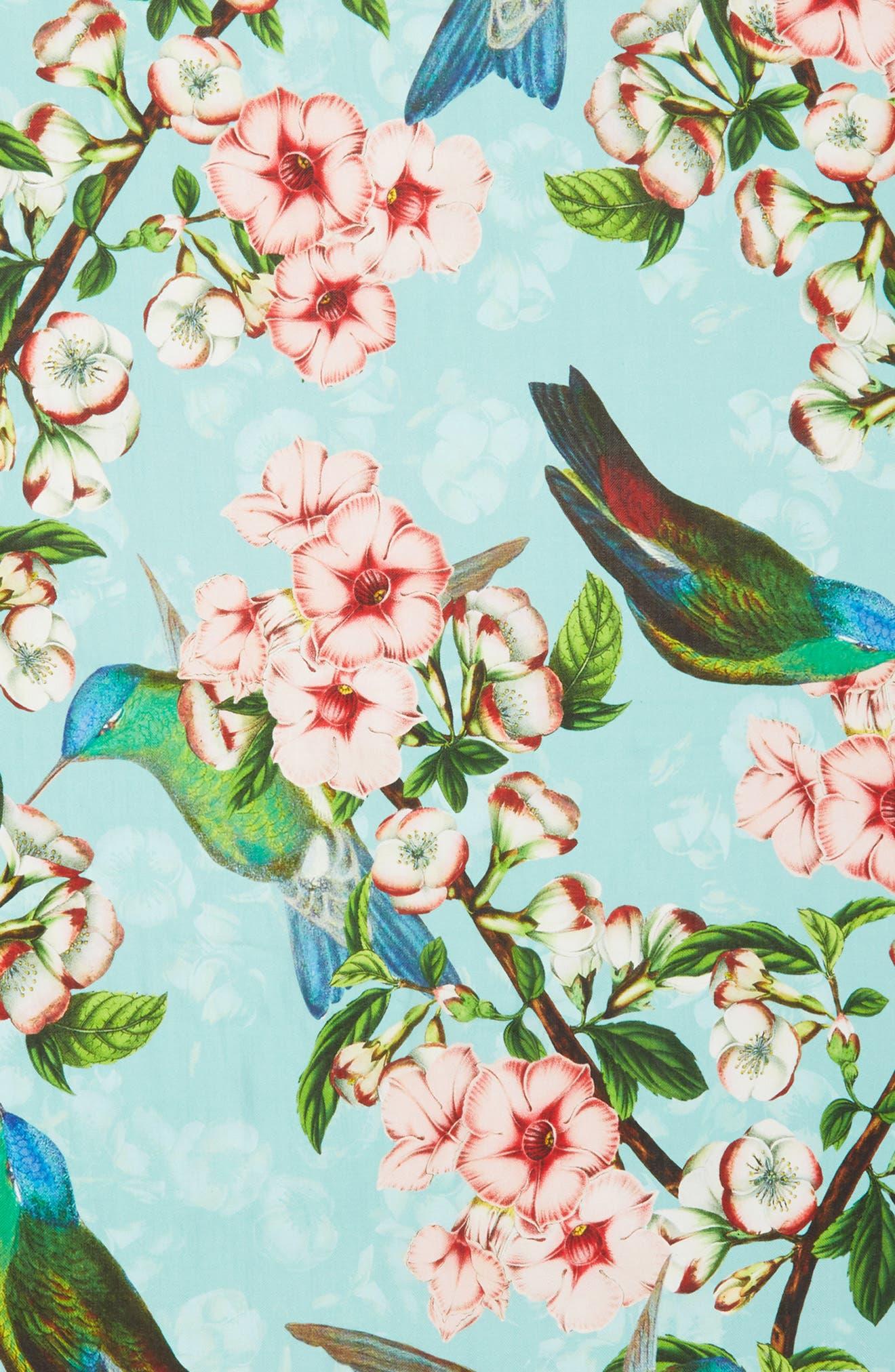 Nectar Long Silk Scarf,                             Alternate thumbnail 4, color,                             Pale Green