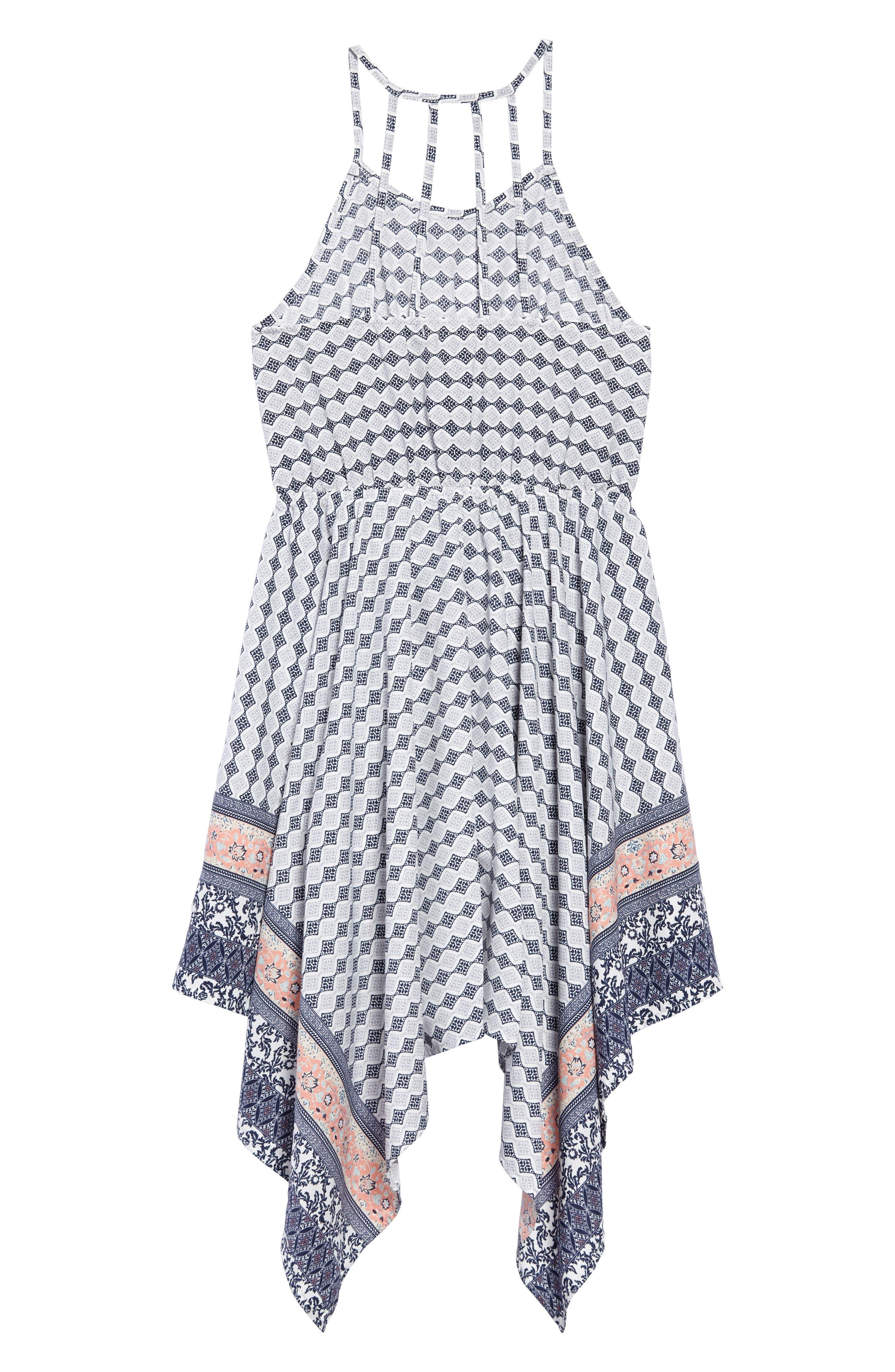 Alternate Image 2  - Soprano Print Handkerchief Dress (Big Girls)