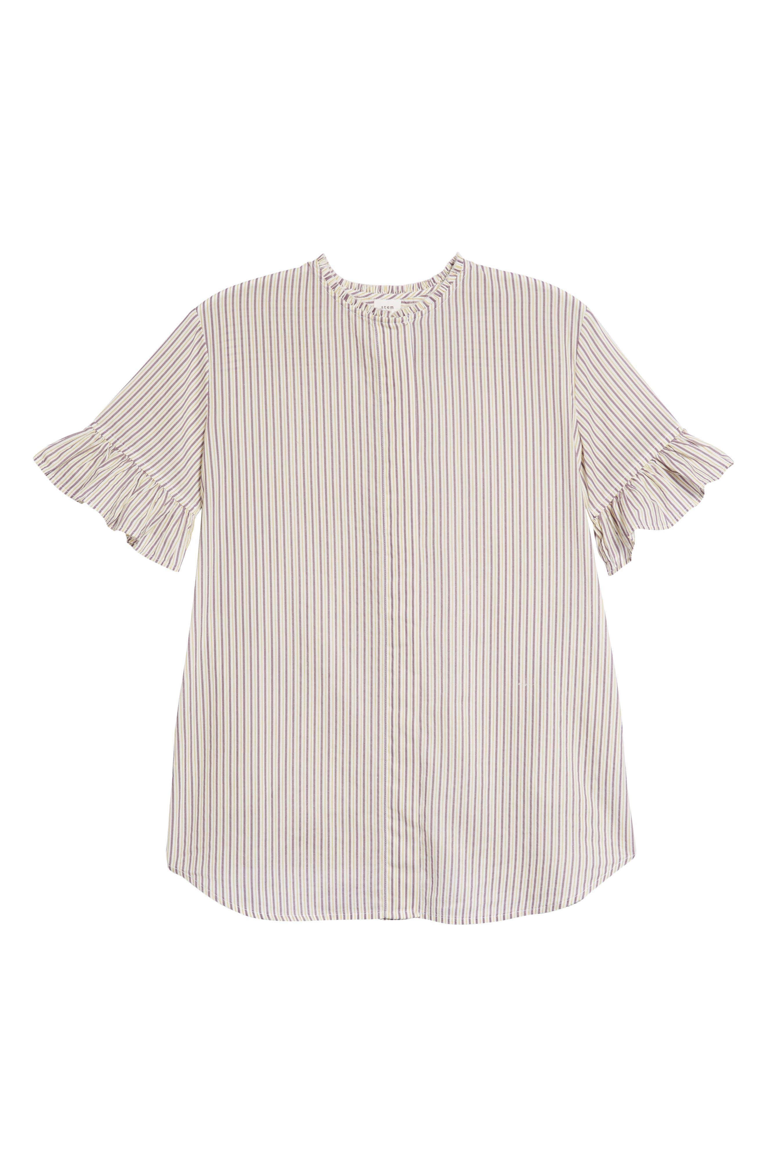 Ruffle Stripe Shirtdress,                             Main thumbnail 1, color,                             White Multi Stripe