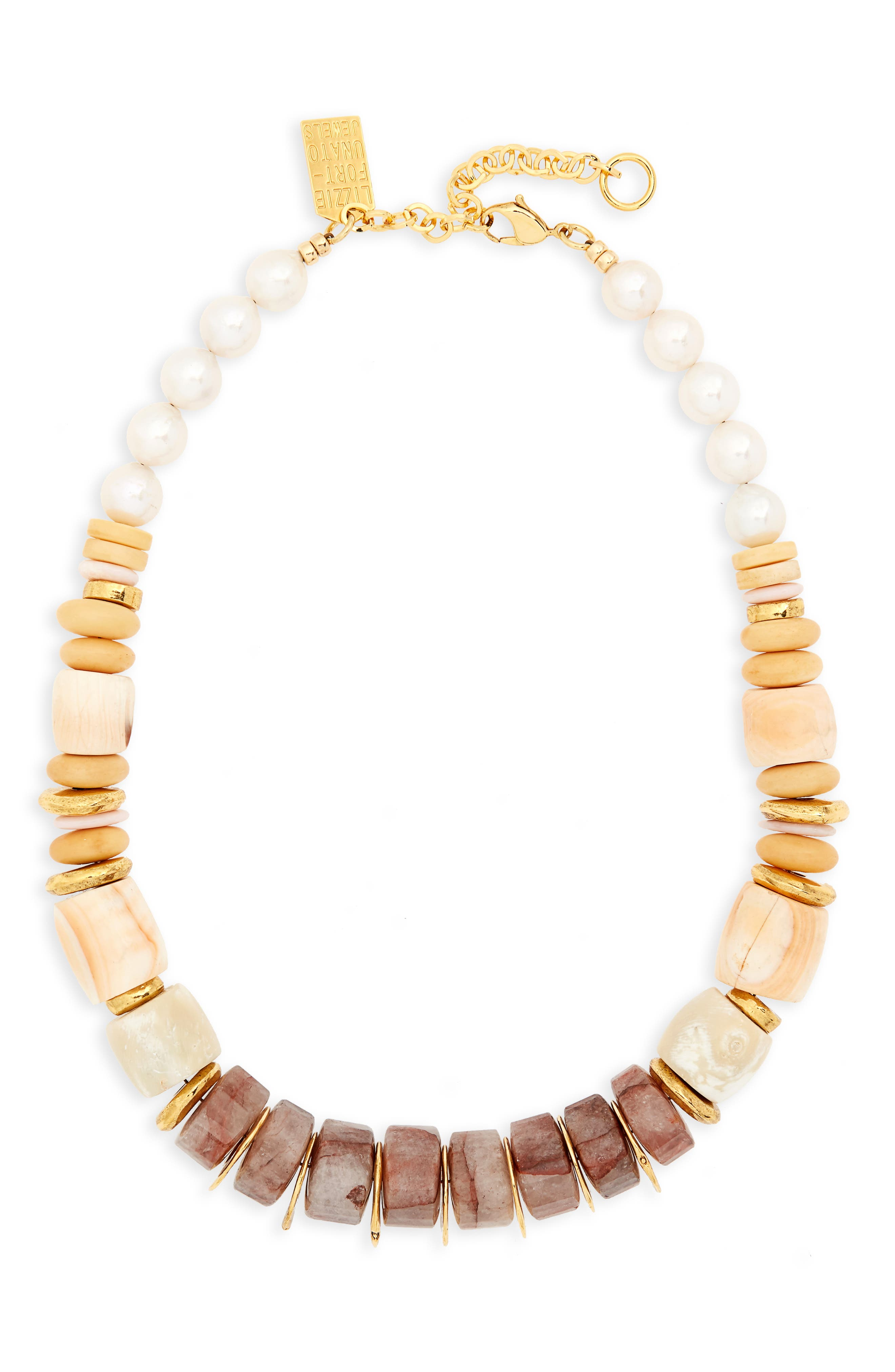 Pink Sands Freshwater Pearl Collar Necklace,                             Main thumbnail 1, color,                             Multi