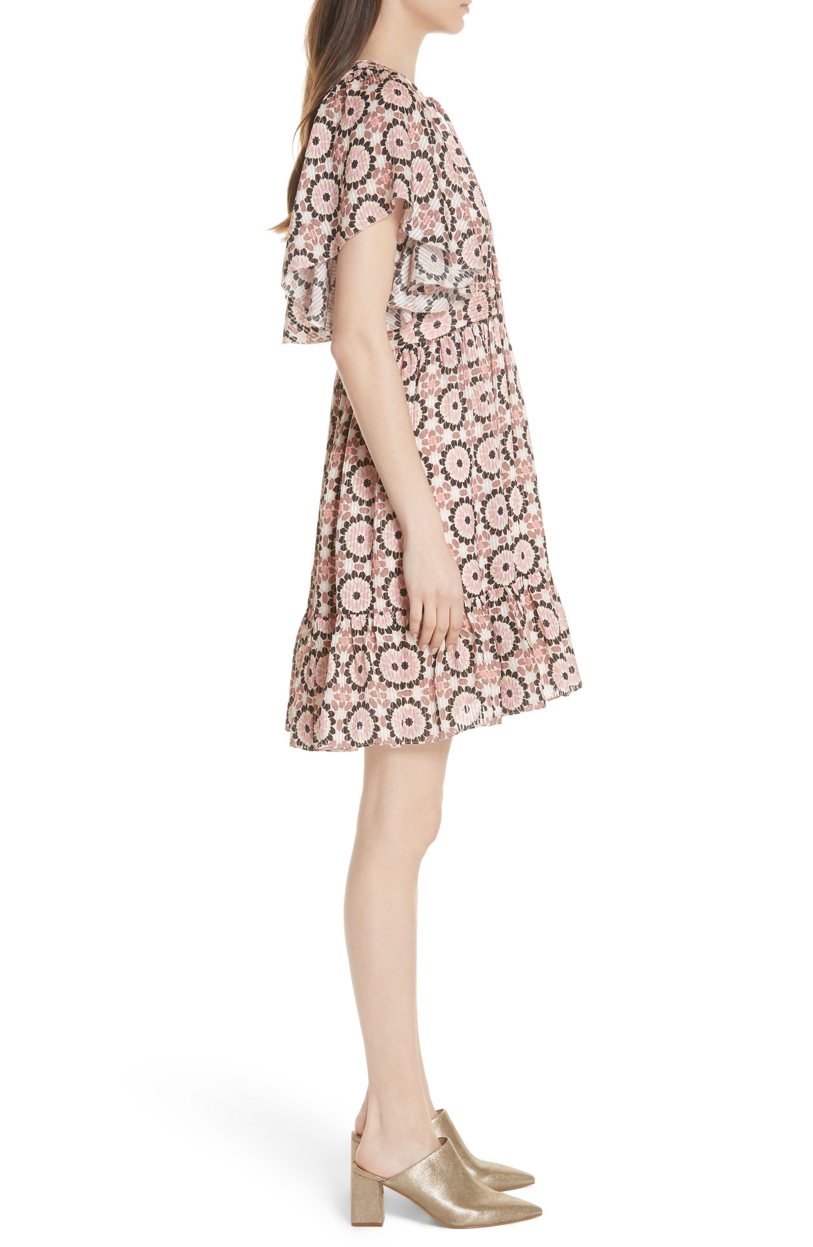 floral mosaic flutter dress,                             Alternate thumbnail 3, color,                             Pearl Pink Multi