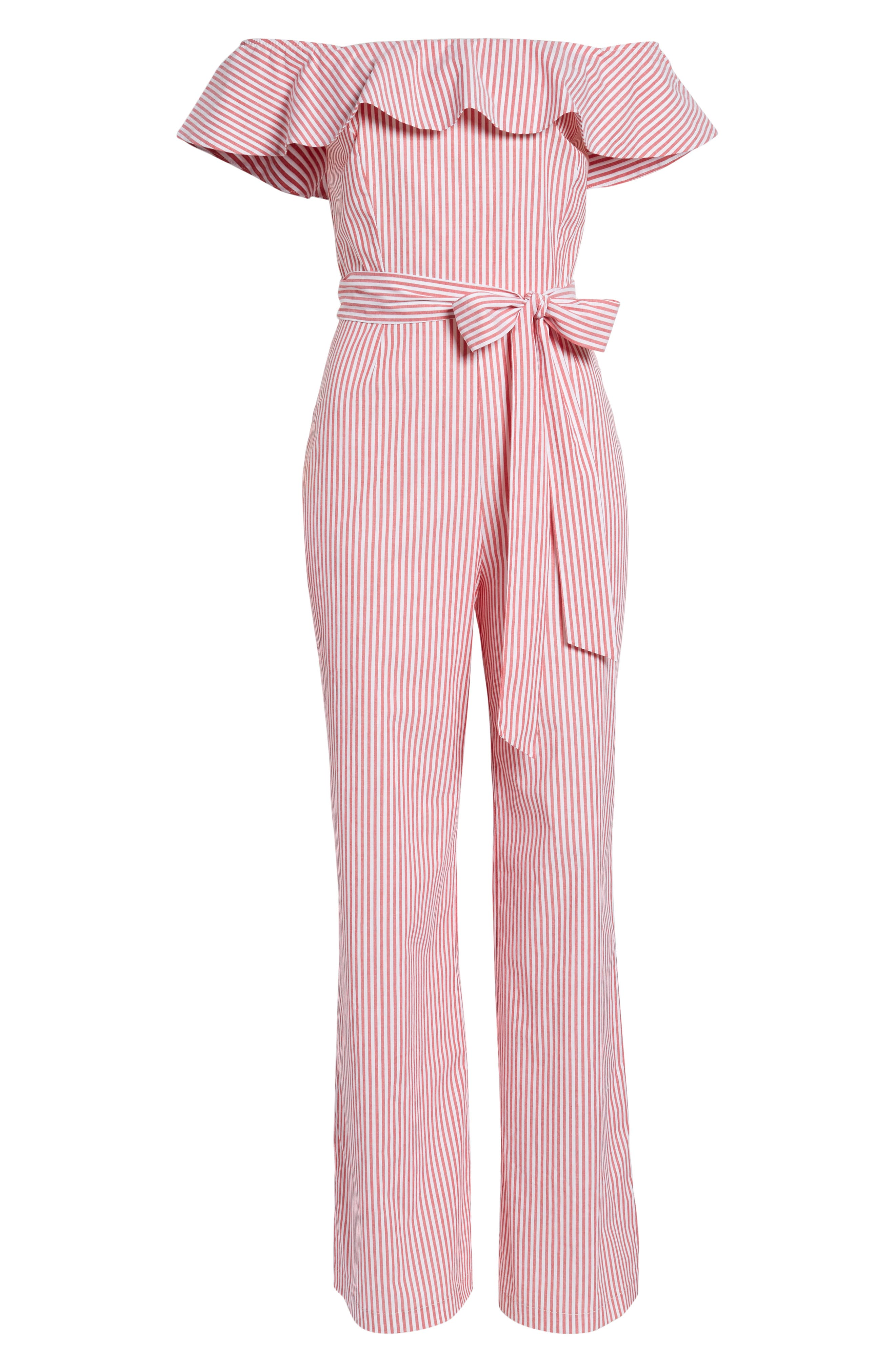 Grenoble Off The Shoulder Jumpsuit,                             Alternate thumbnail 7, color,                             Red Stripe