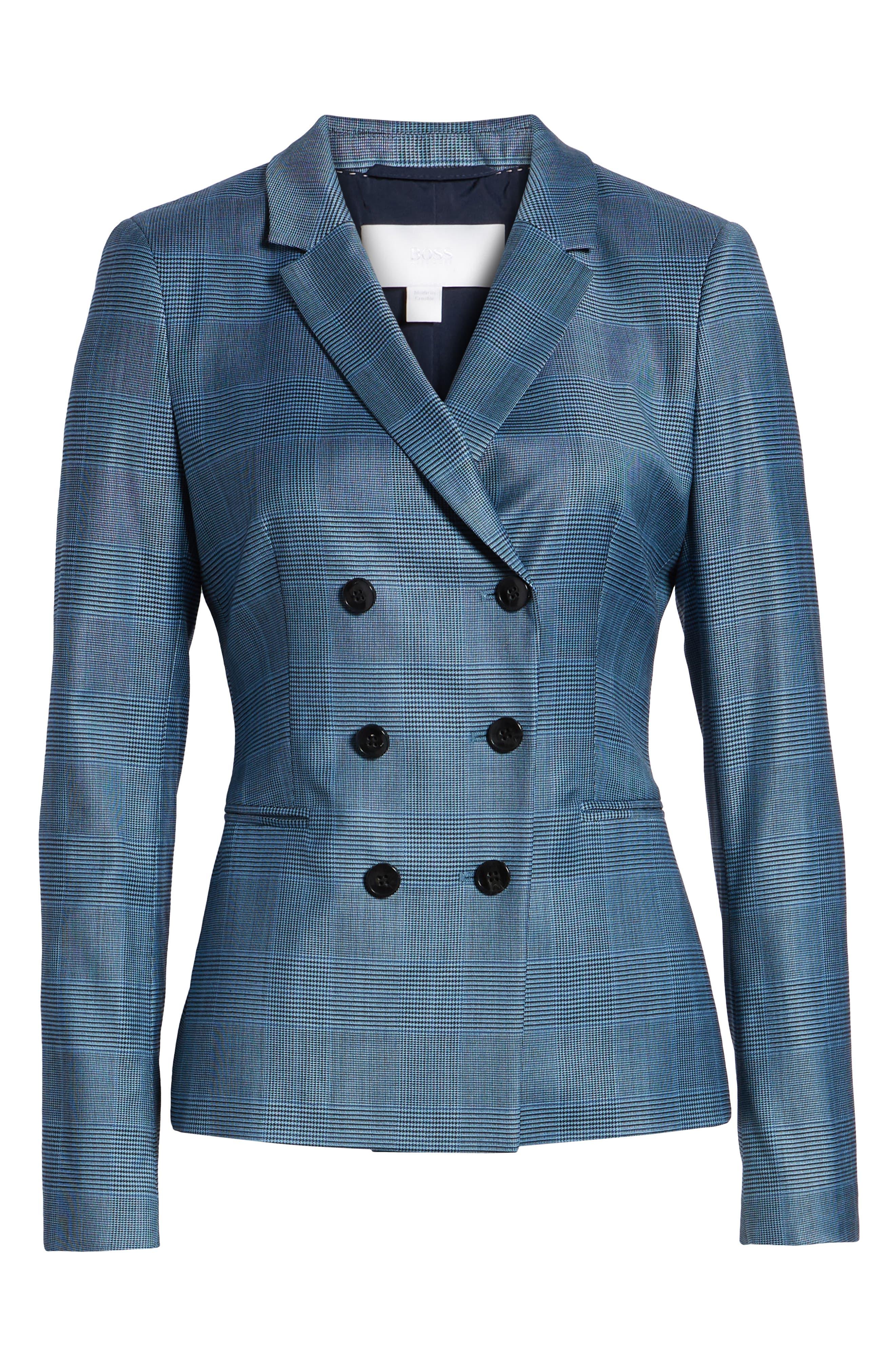 Jelaya Glencheck Double Breasted Suit Jacket,                             Alternate thumbnail 6, color,                             Sailor Blue Fantasy