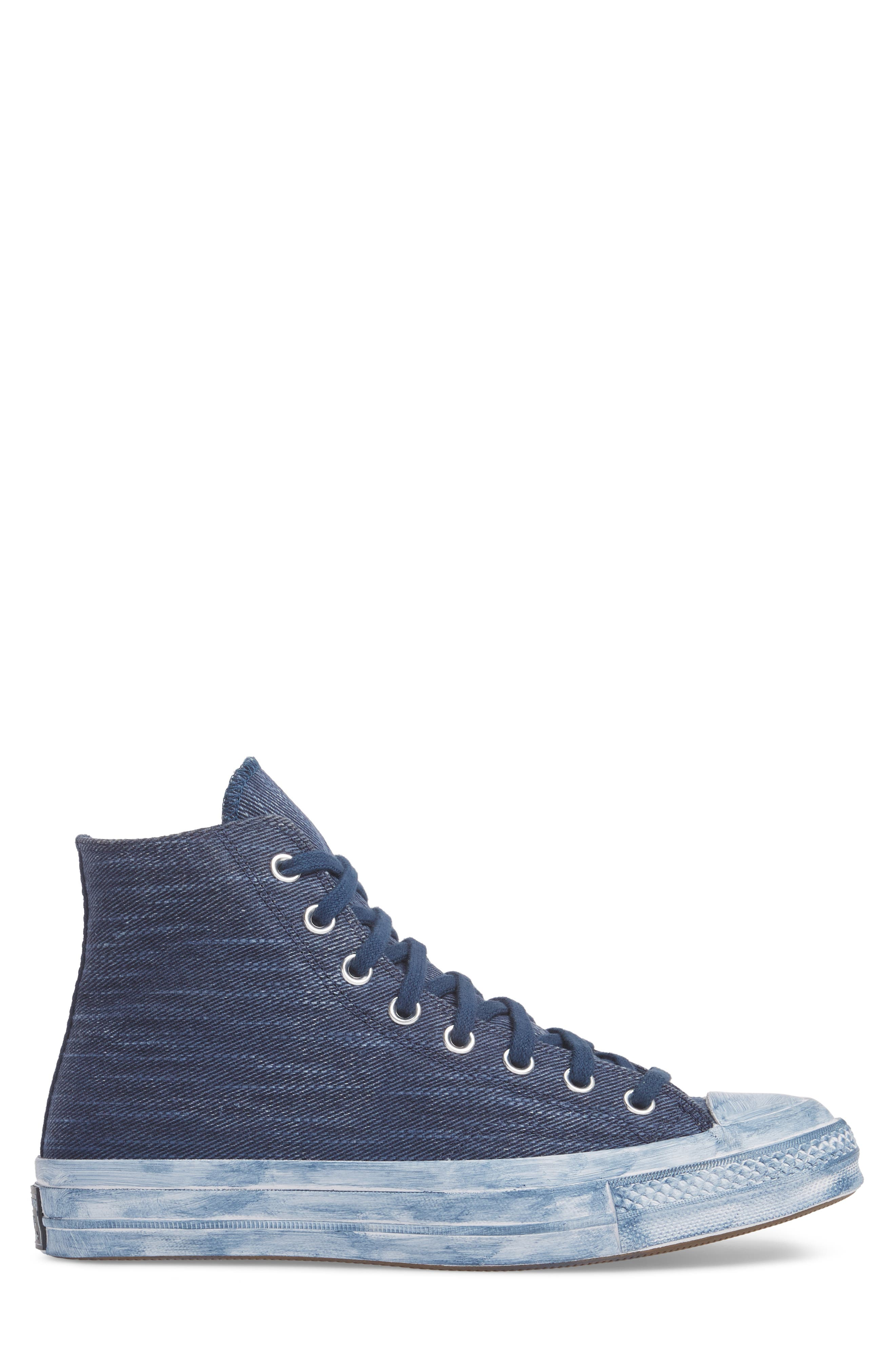 Chuck Taylor<sup>®</sup> All Star<sup>®</sup> Overdyed Linen High Top Sneaker,                             Alternate thumbnail 3, color,                             Navy
