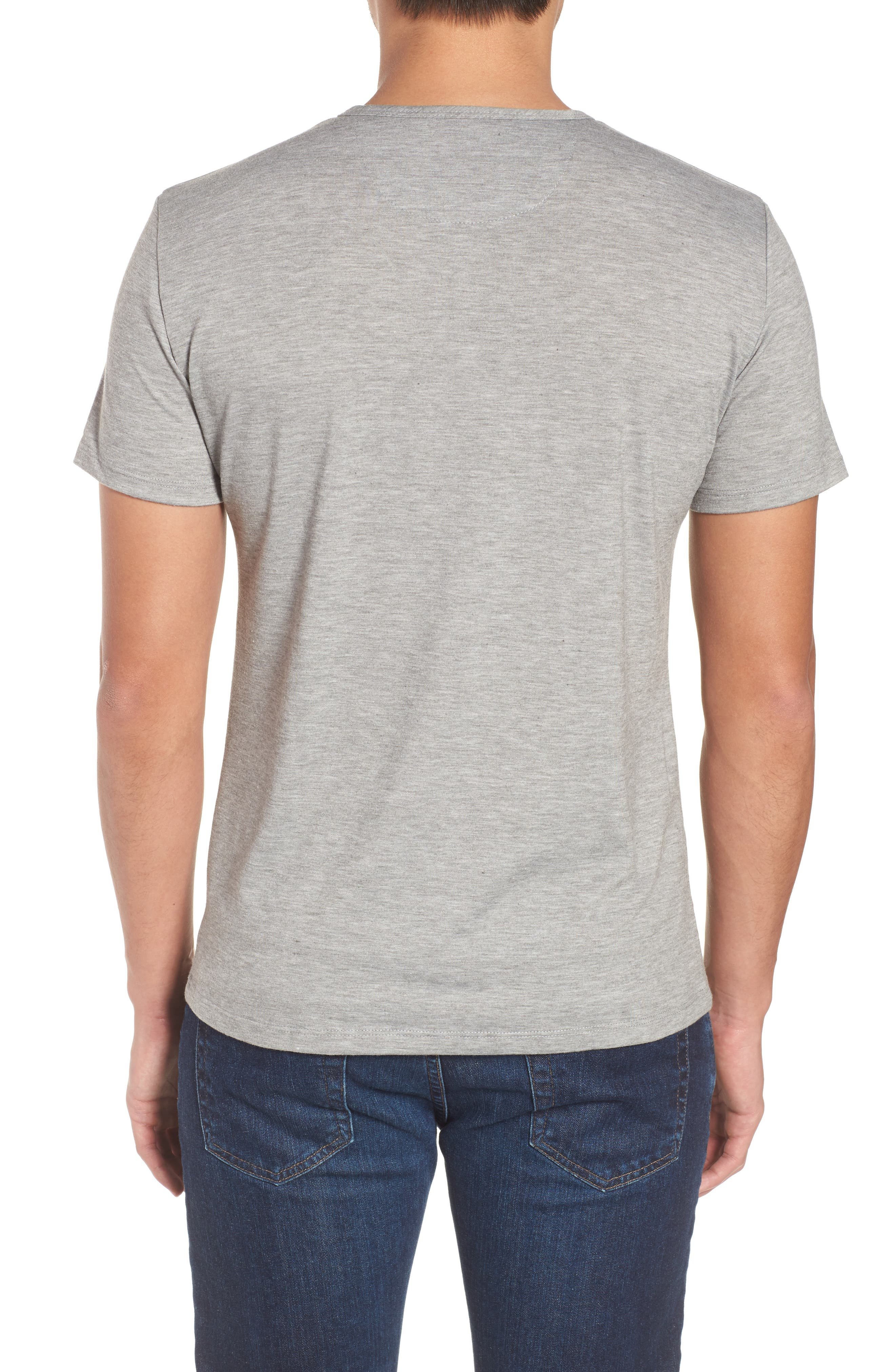 Slim Fit Short Sleeve Performance Henley T-Shirt,                             Alternate thumbnail 2, color,                             Grey