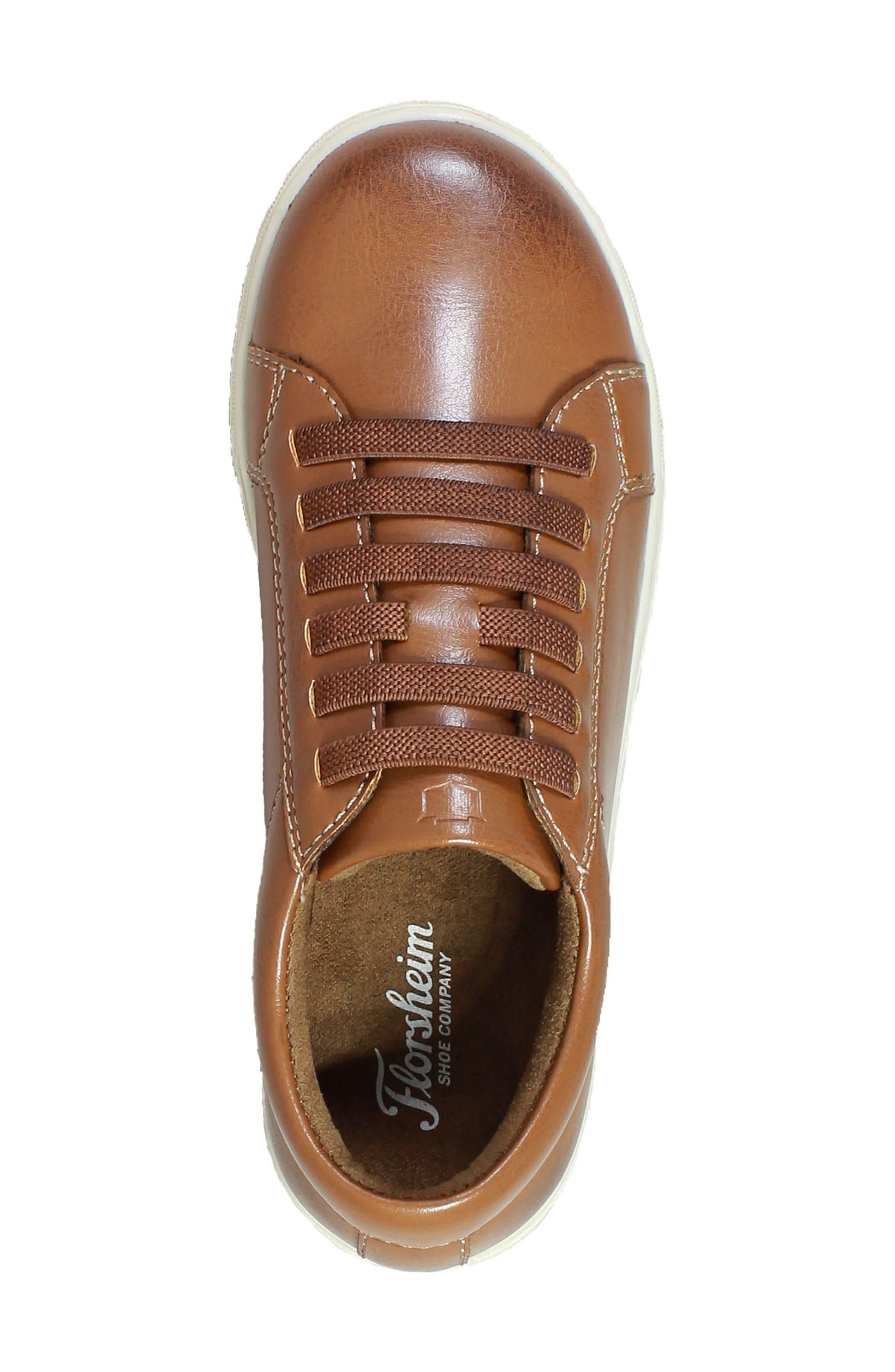 Curb Elastic Lace Sneaker,                             Alternate thumbnail 4, color,                             Cognac