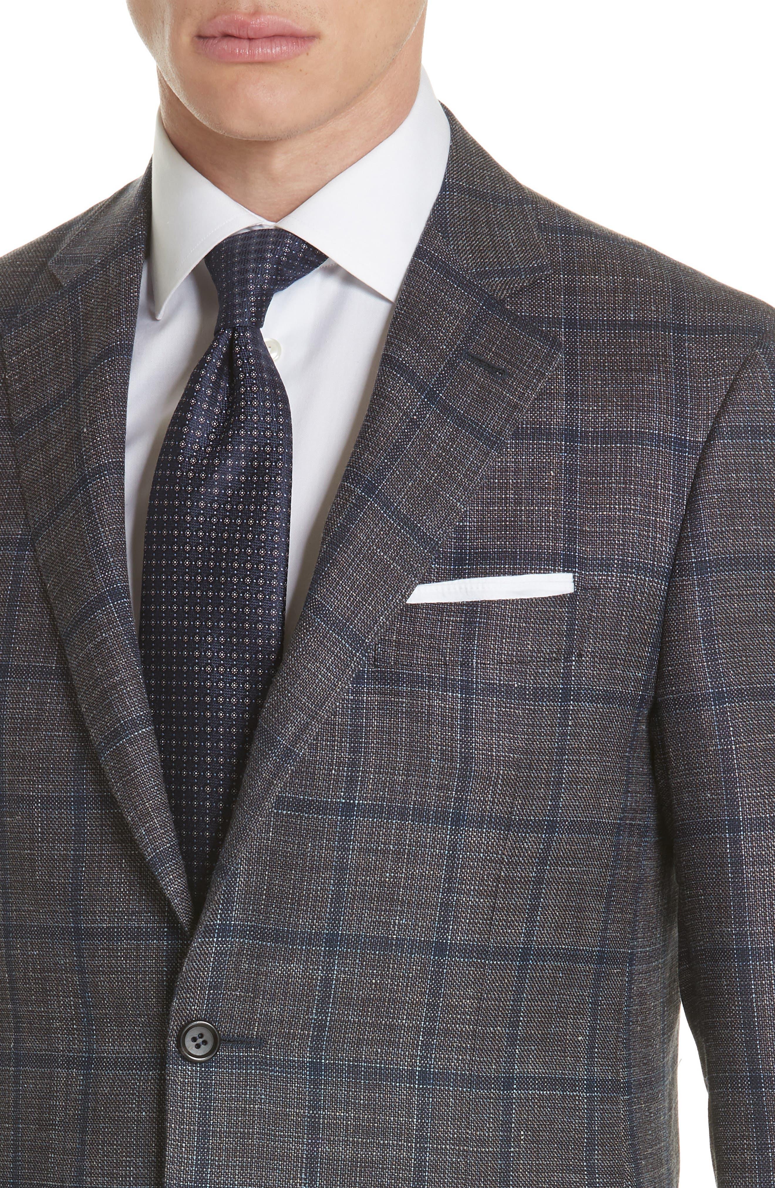 Kei Classic Fit Windowpane Wool Blend Sport Coat,                             Alternate thumbnail 4, color,                             Brown