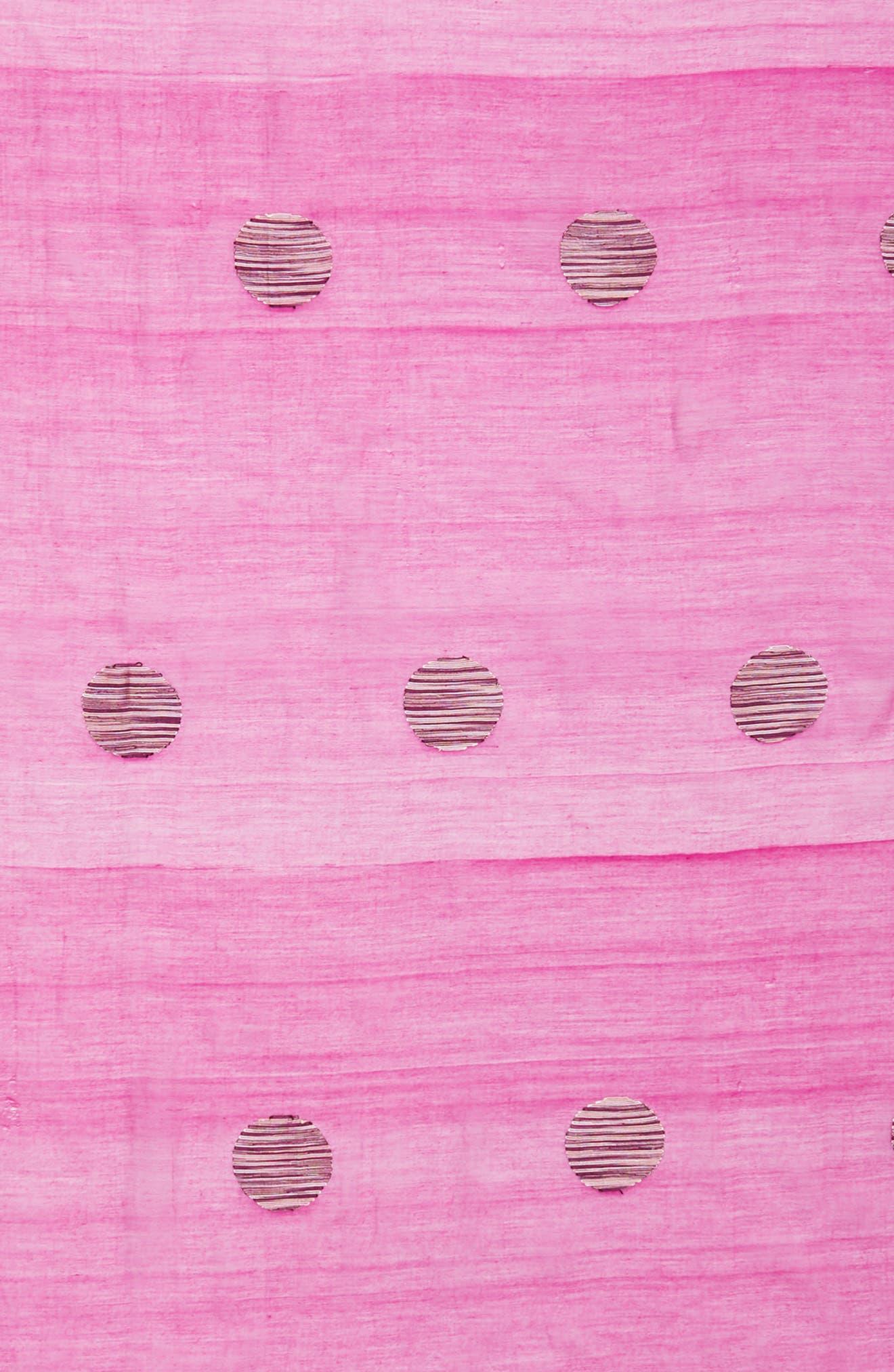 Dot Organic Cotton Blend Scarf,                             Alternate thumbnail 4, color,                             Cerise