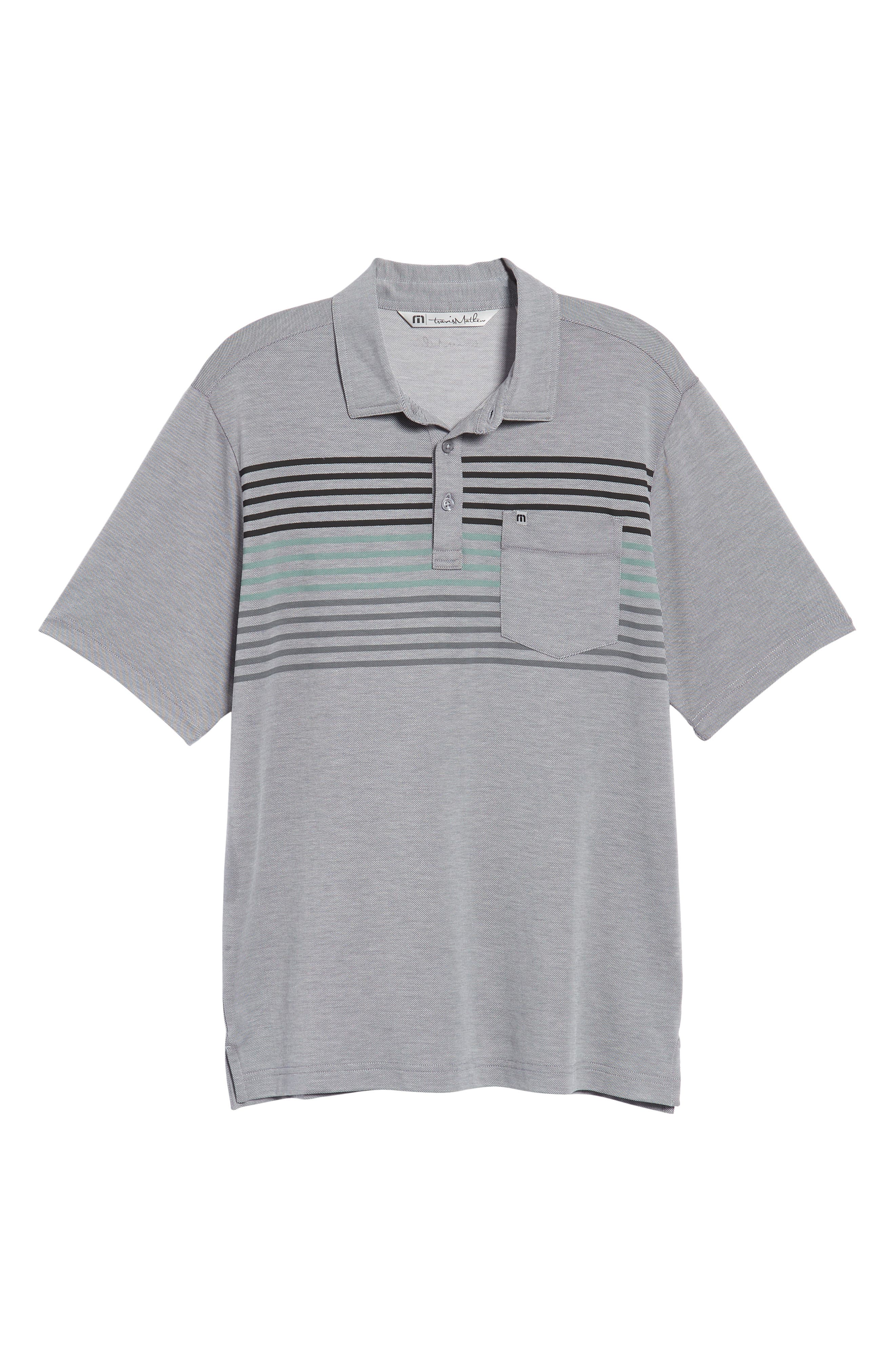 Whitney Regular Fit Stripe Piqué Polo,                             Alternate thumbnail 6, color,                             Heather Quiet Shade