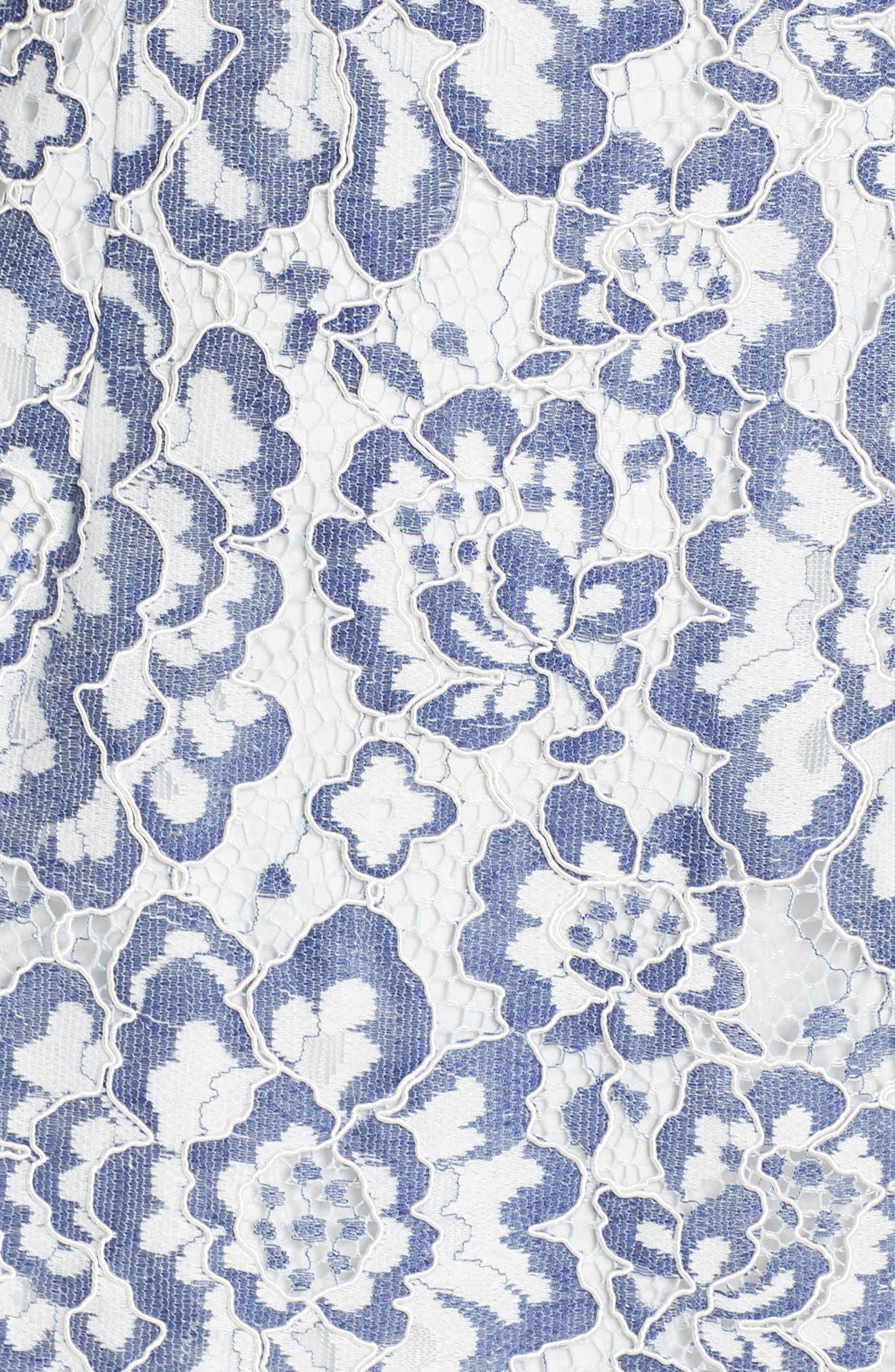 Elisa Two Tone Lace Sheath Dress,                             Alternate thumbnail 6, color,                             Blue/ White