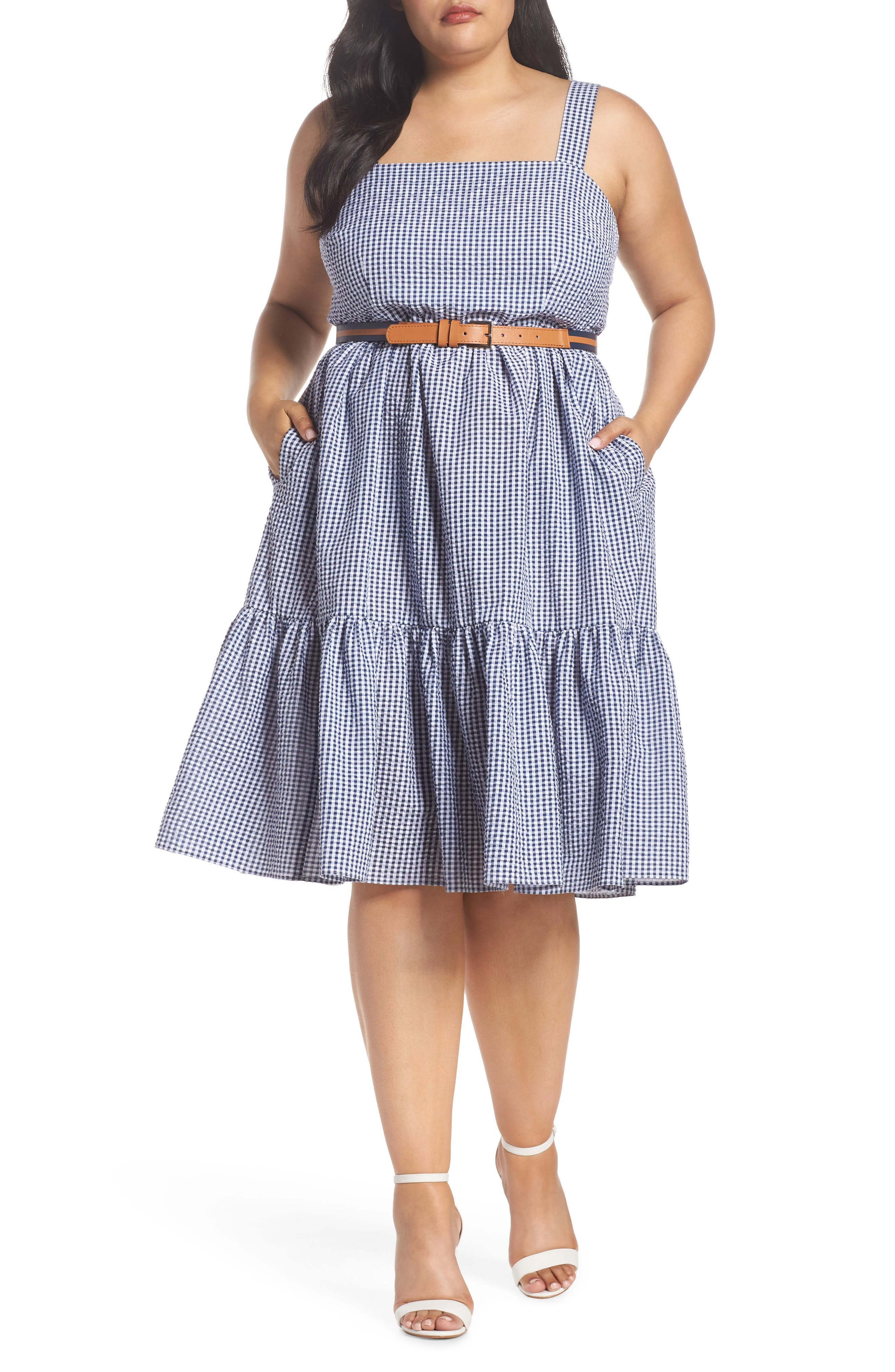 Belted Gingham Seersucker Fit & Flare Dress,                             Main thumbnail 1, color,                             Navy/ Ivory