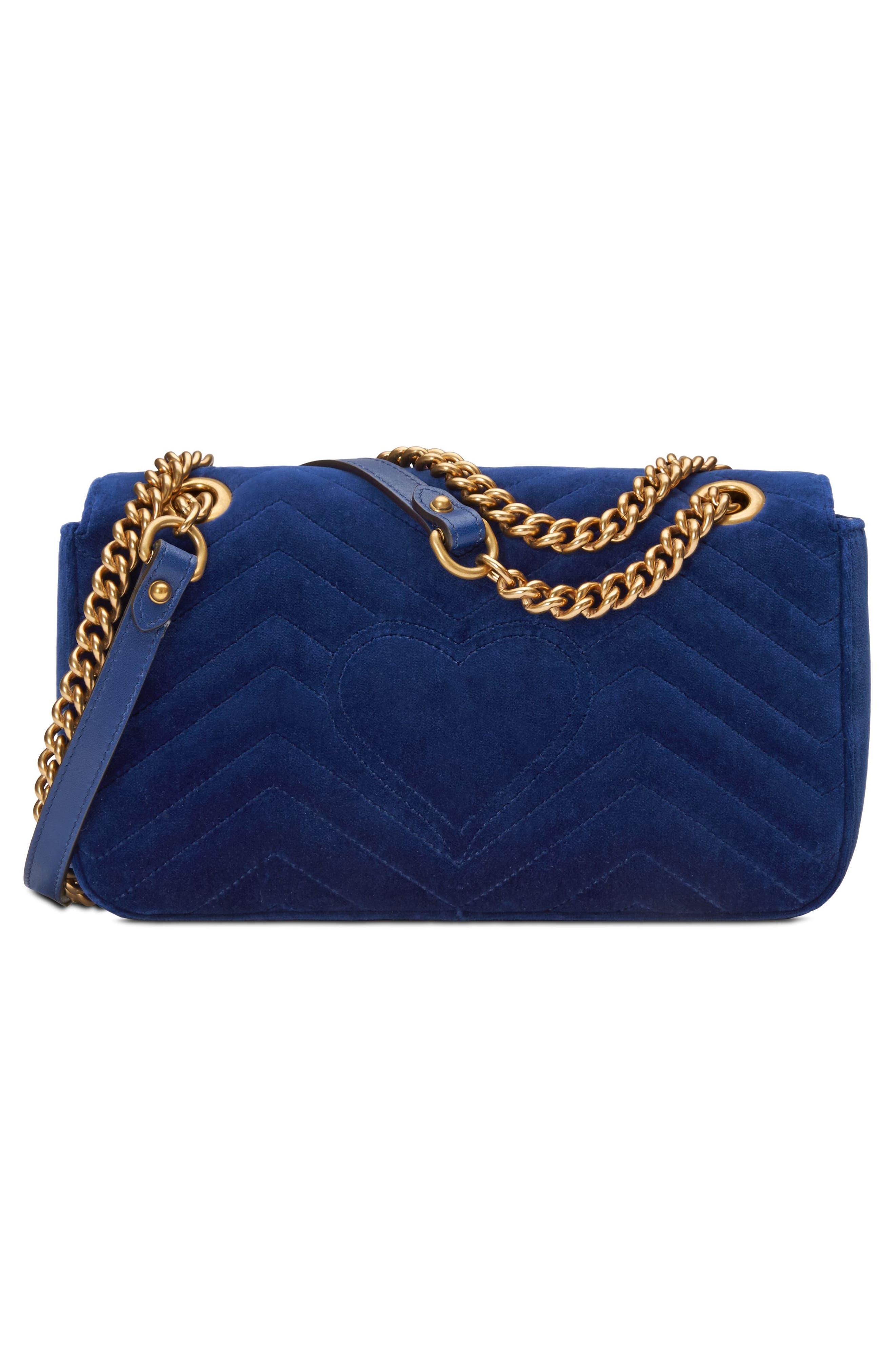 Small GG Marmont 2.0 Matelassé Velvet Shoulder Bag,                             Alternate thumbnail 2, color,                             Cobalt/ Cobalt Multicolor