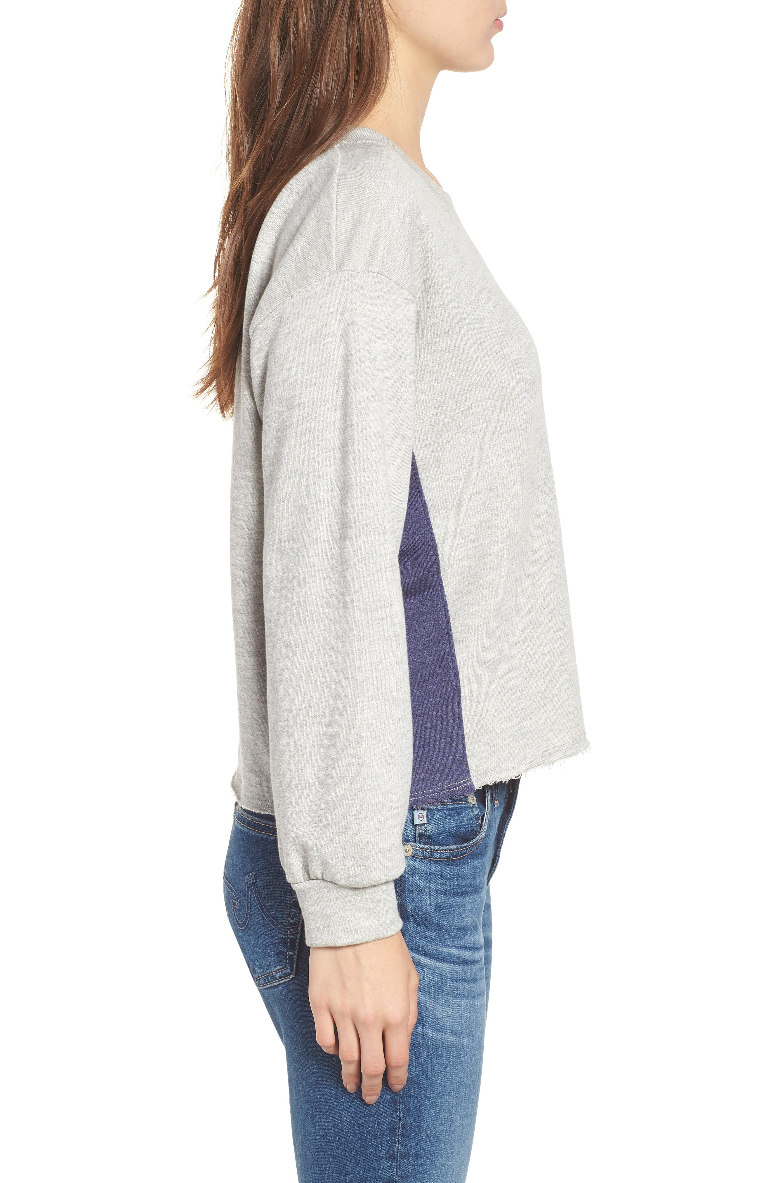 Colorblock Terry Sweatshirt,                             Alternate thumbnail 3, color,                             Heather Grey