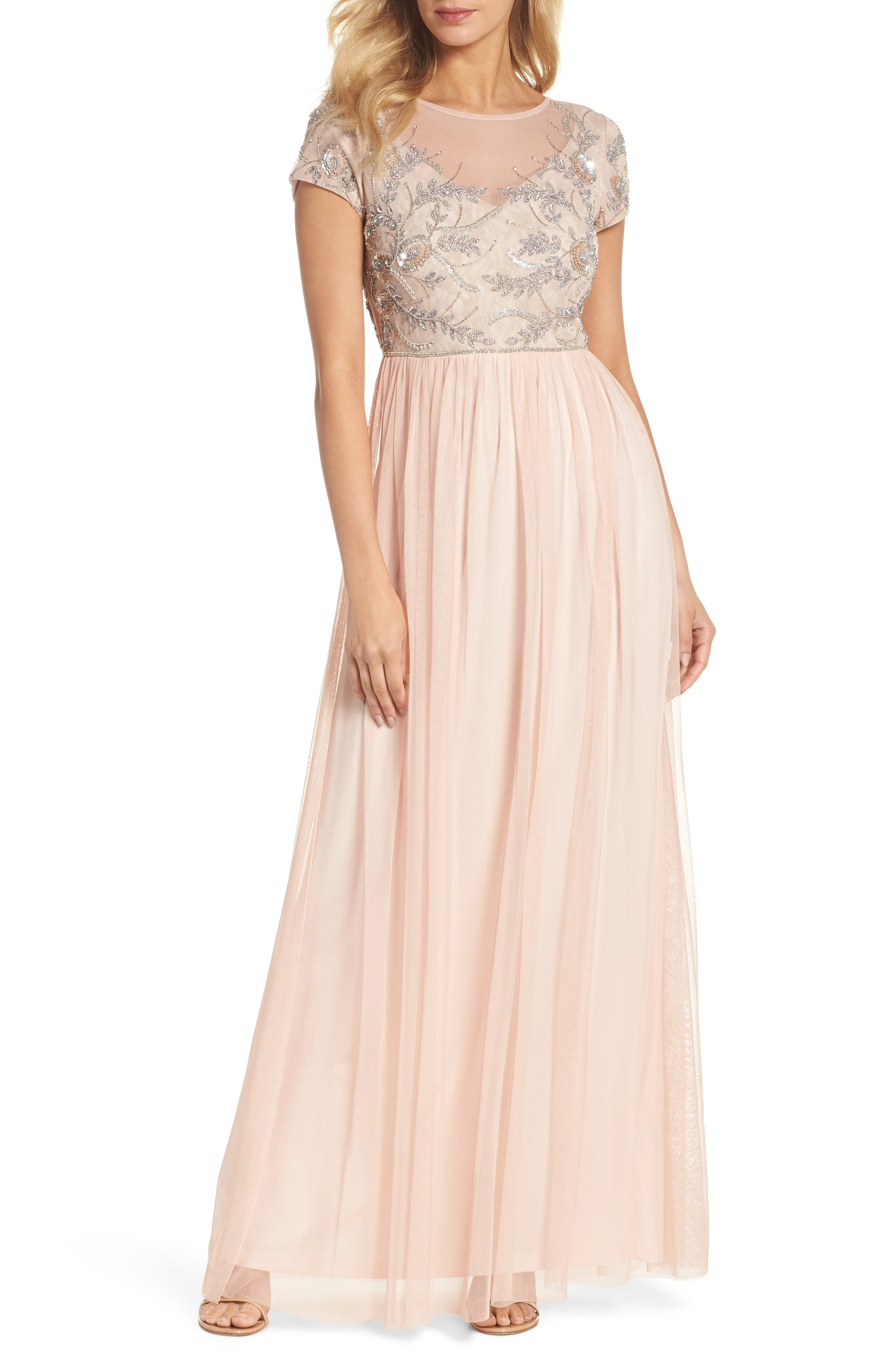 Beaded Mesh Gown,                         Main,                         color, Blush