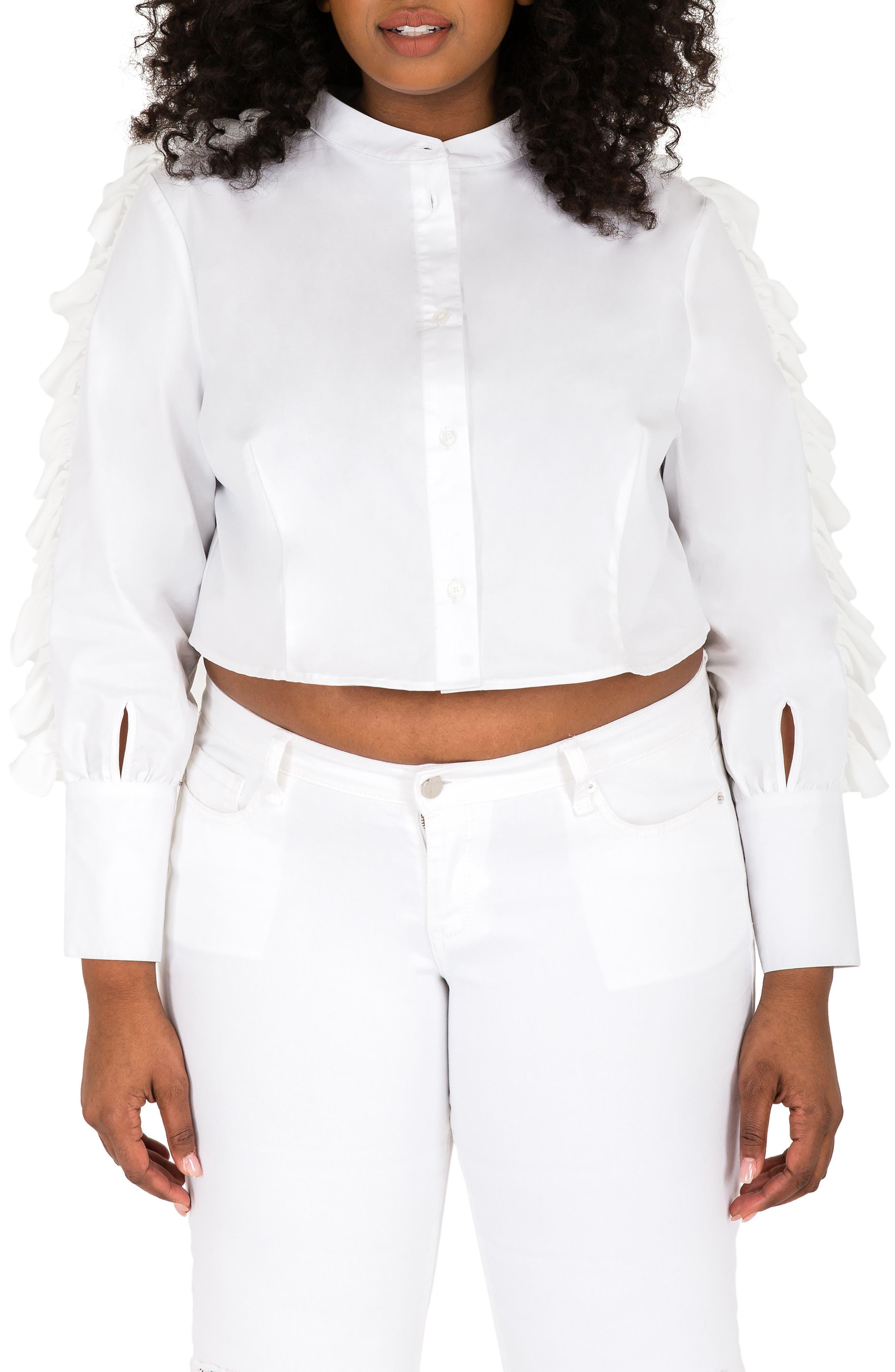 Poetic Justice Mayasia Ruffle Sleeve Crop Shirt (Plus Size)