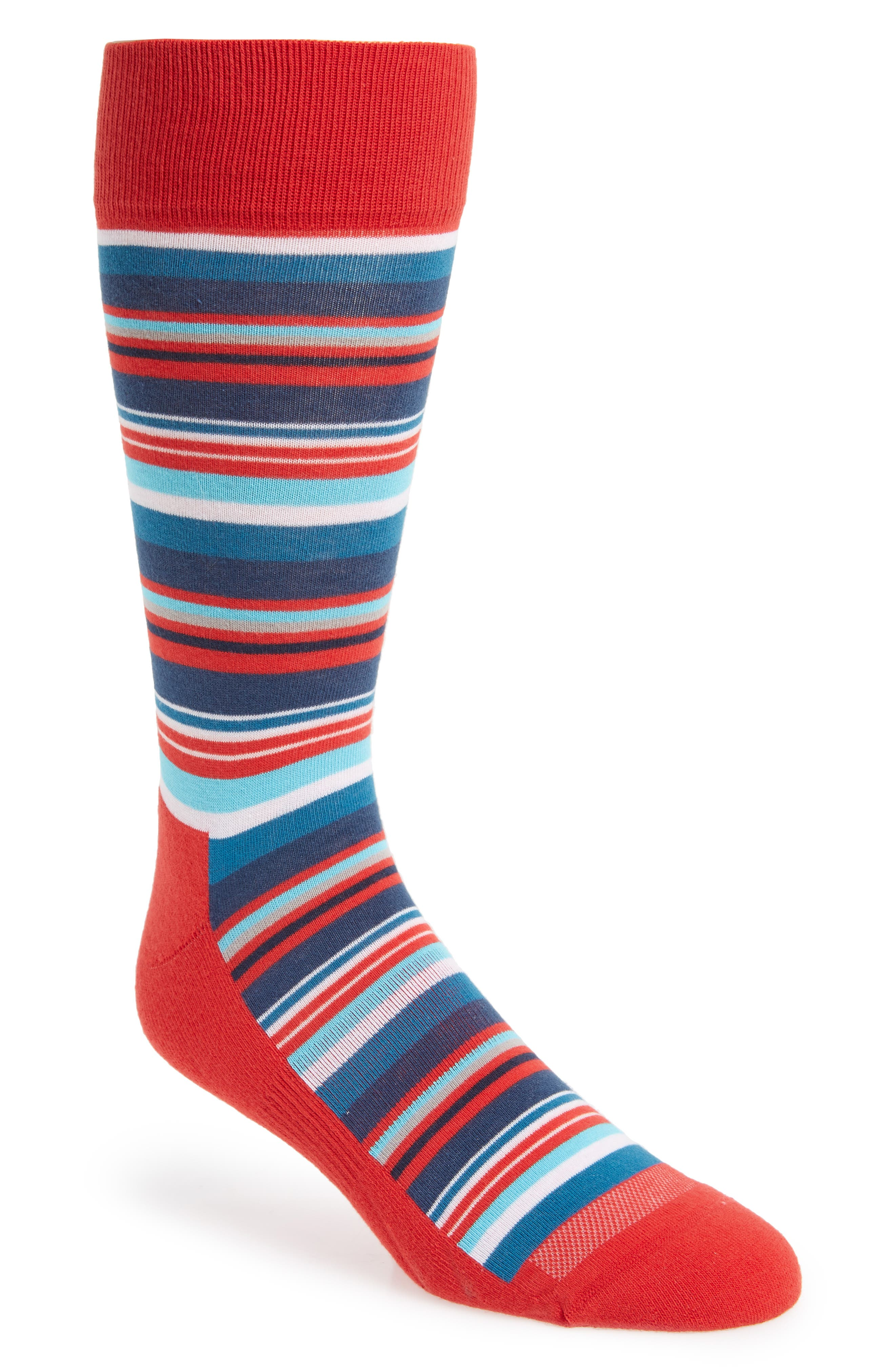 Variegated Stripe Socks,                         Main,                         color, Red/ White/ Blue