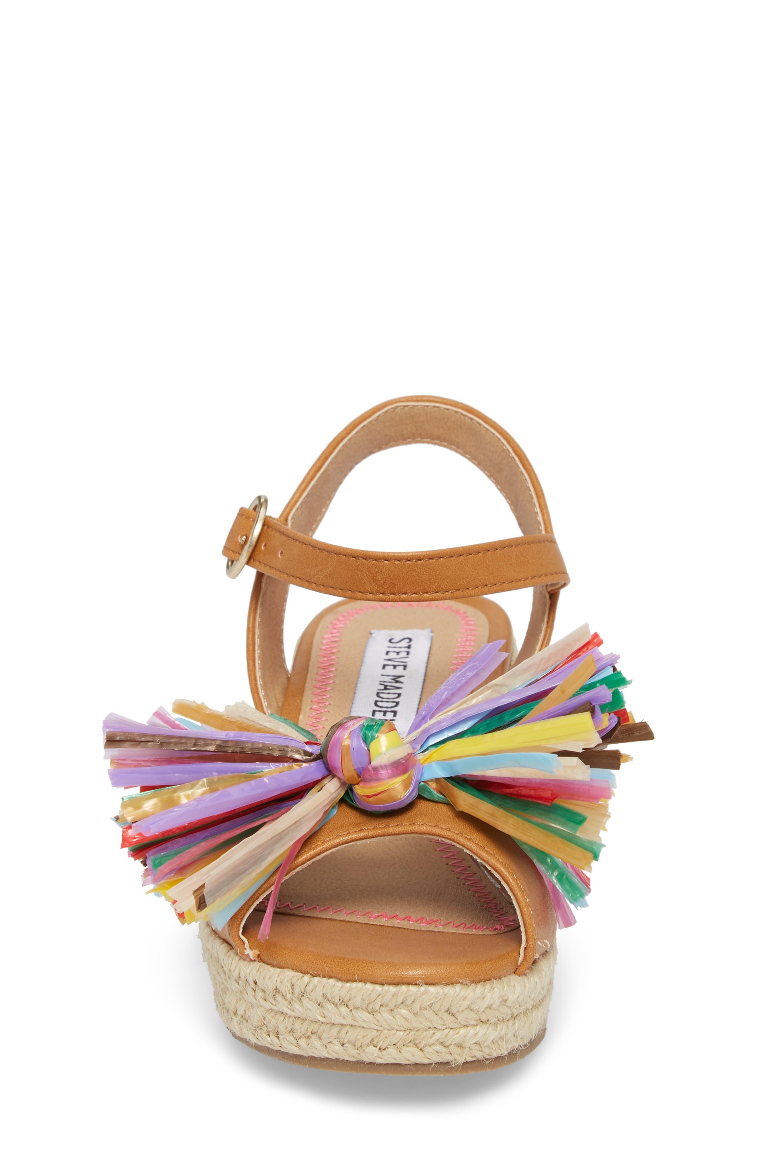 JSTRWBERI Wedge Sandal,                             Alternate thumbnail 4, color,                             Cognac Multi