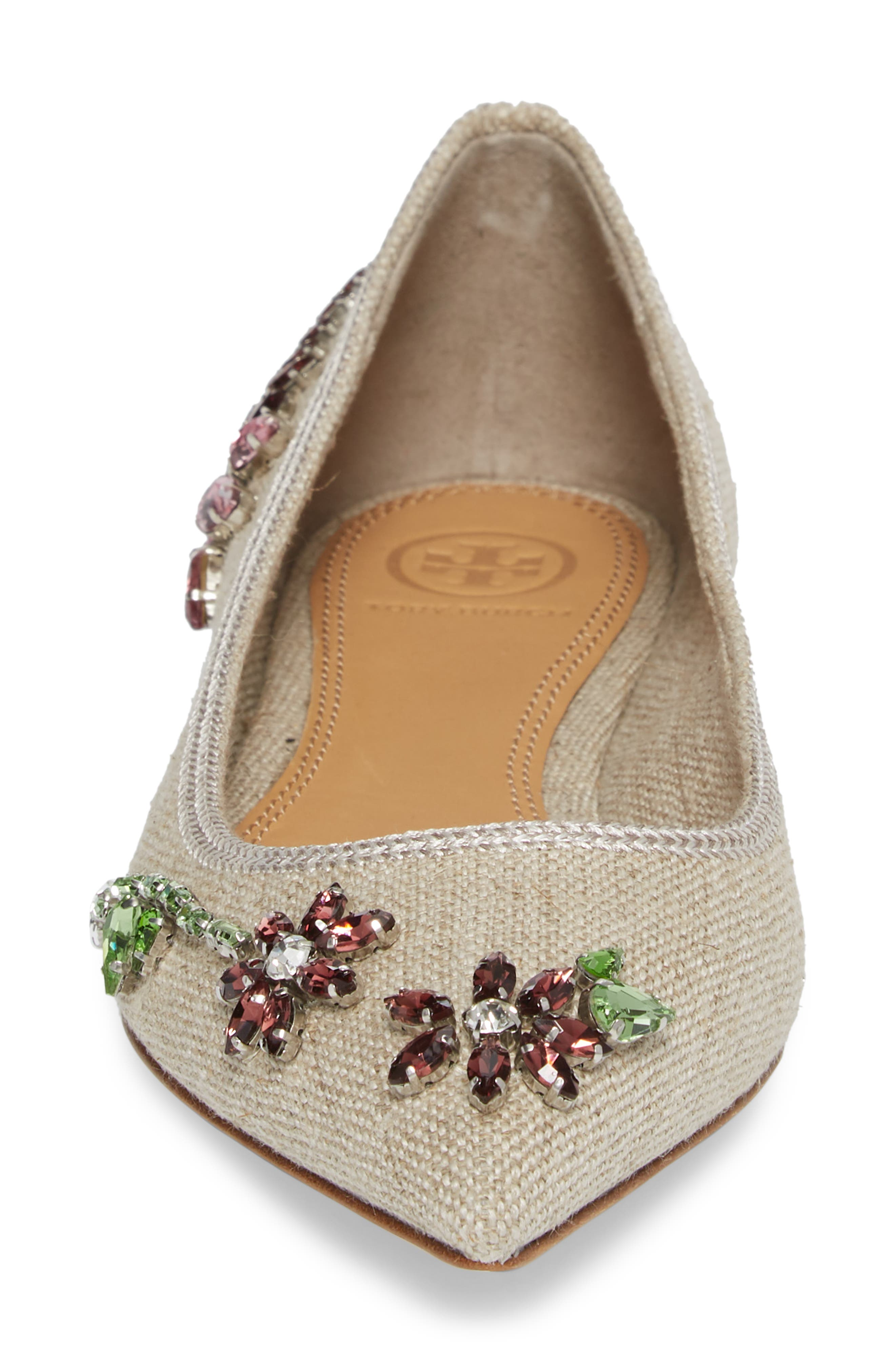 Meadow Embellished Pointy Toe Flat,                             Alternate thumbnail 4, color,                             Natural/ Multi Color