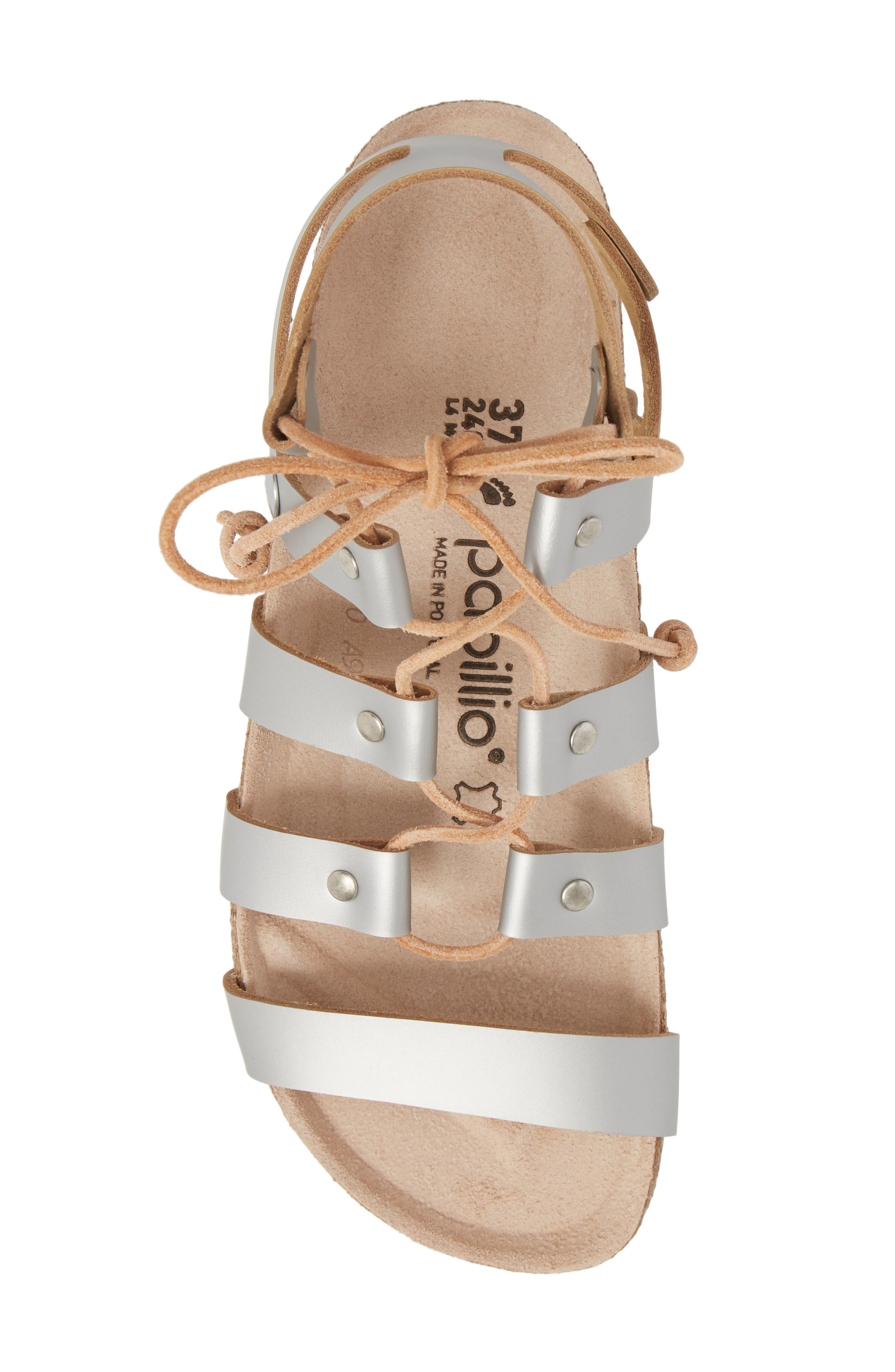 Papillio by Birkenstock Cleo Gladiator Sandal,                             Alternate thumbnail 5, color,                             Frosted Silver Leather