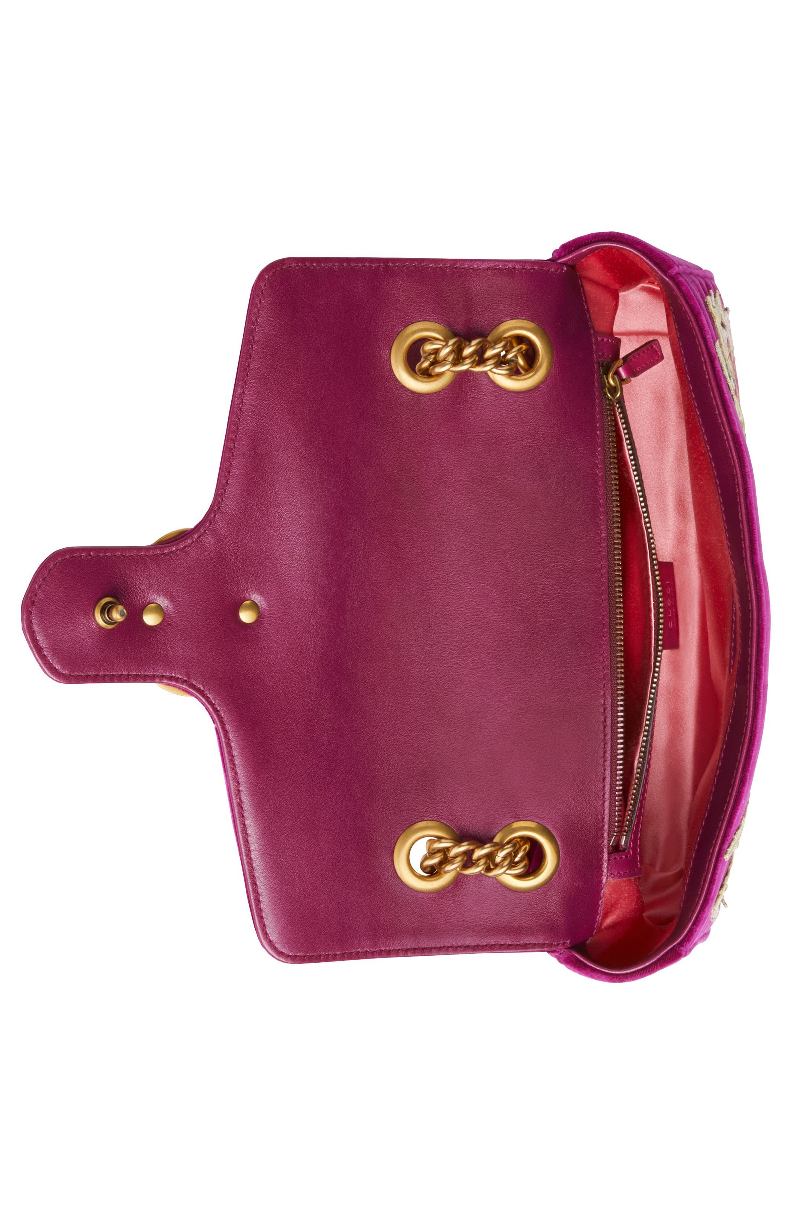 Small GG Marmont 2.0 Matelassé Velvet Shoulder Bag,                             Alternate thumbnail 3, color,                             Fuchsia/ Fuchsia