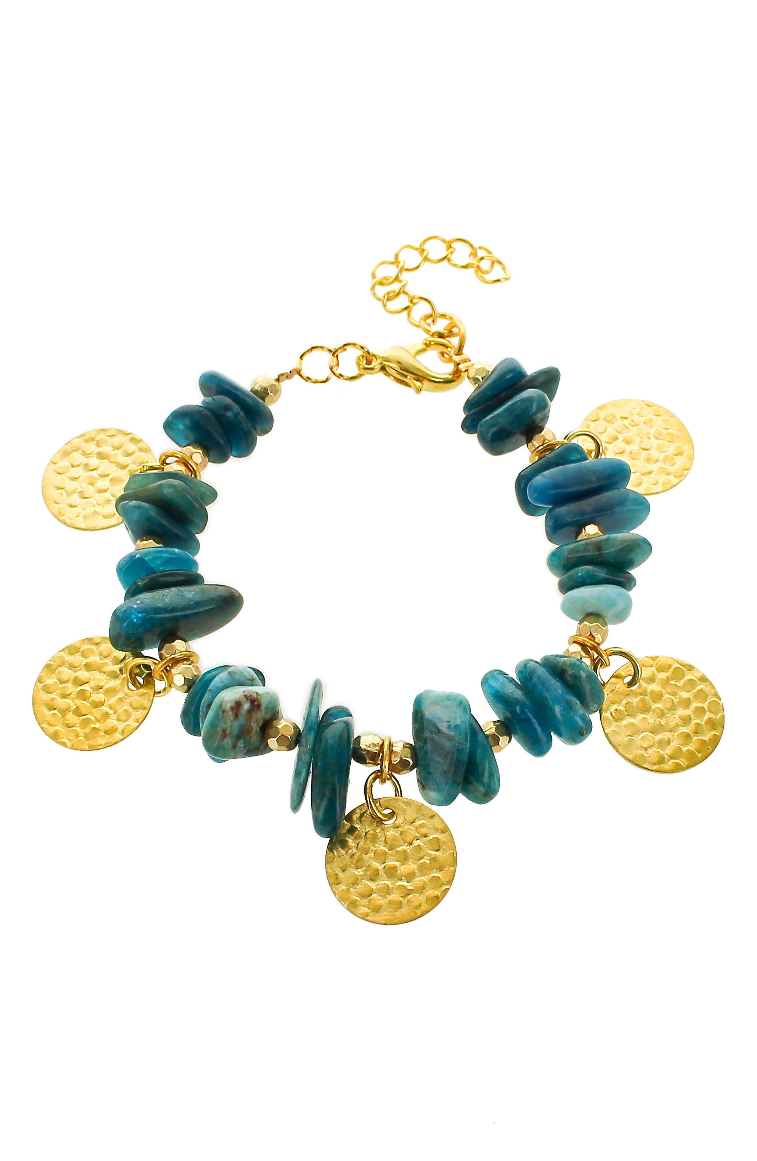 Chip Stone Disc Bracelet,                             Main thumbnail 1, color,                             Teal/ Multi