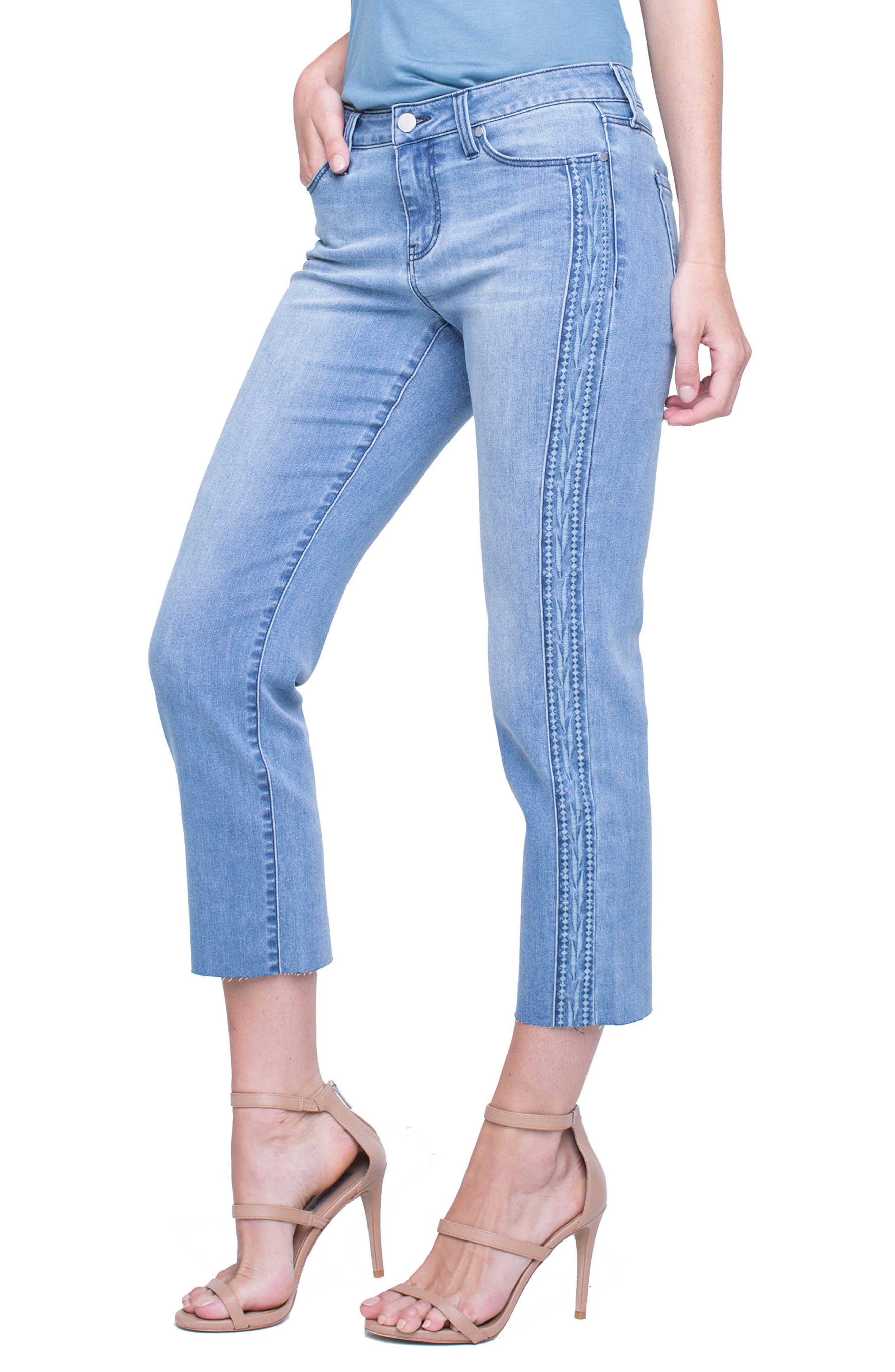 Embroidered Tuxedo Stripe Raw Hem Jeans,                         Main,                         color, Devonshire