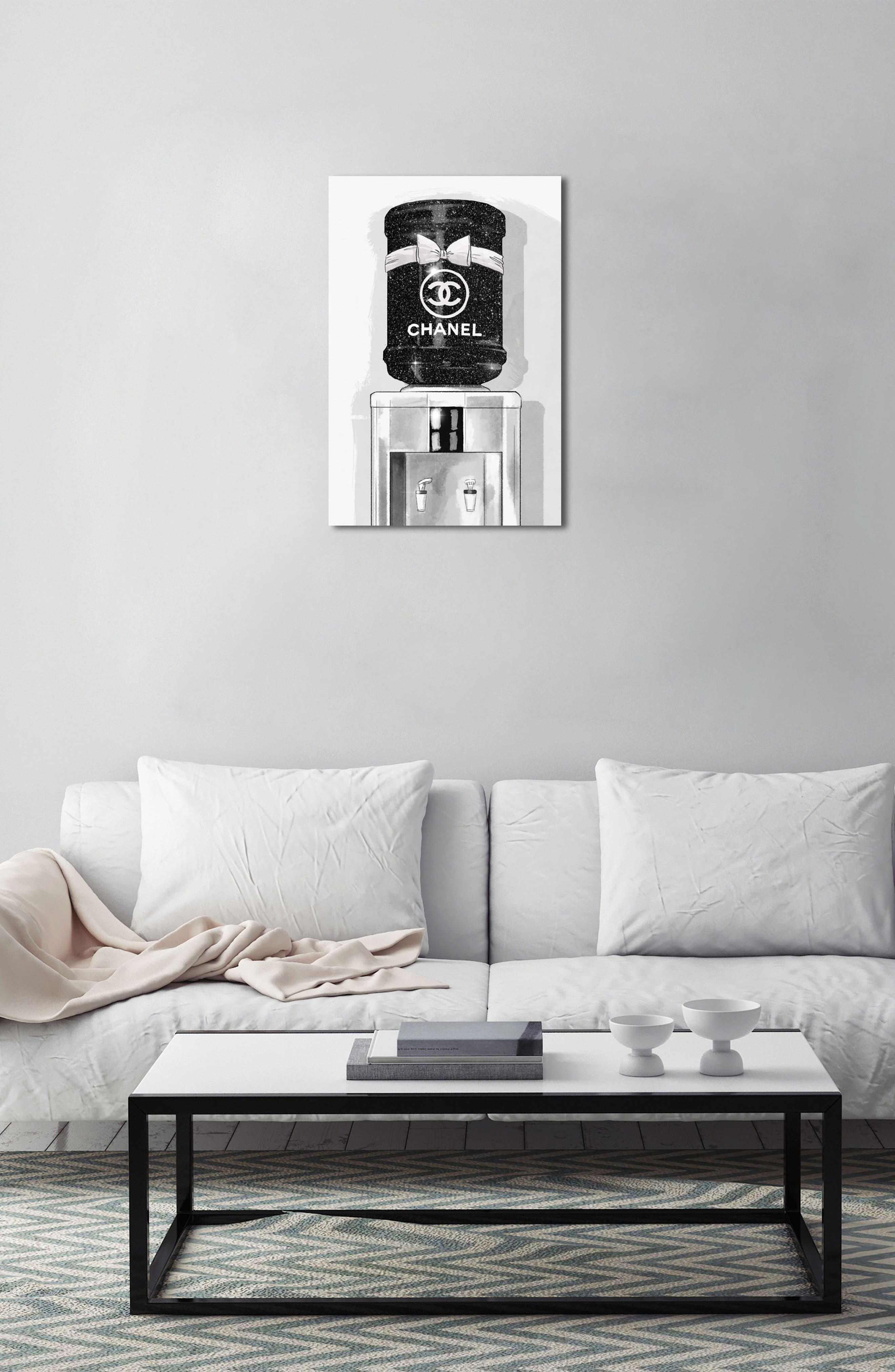 French Luxe Watercooler Canvas Wall Art,                             Alternate thumbnail 3, color,                             Black