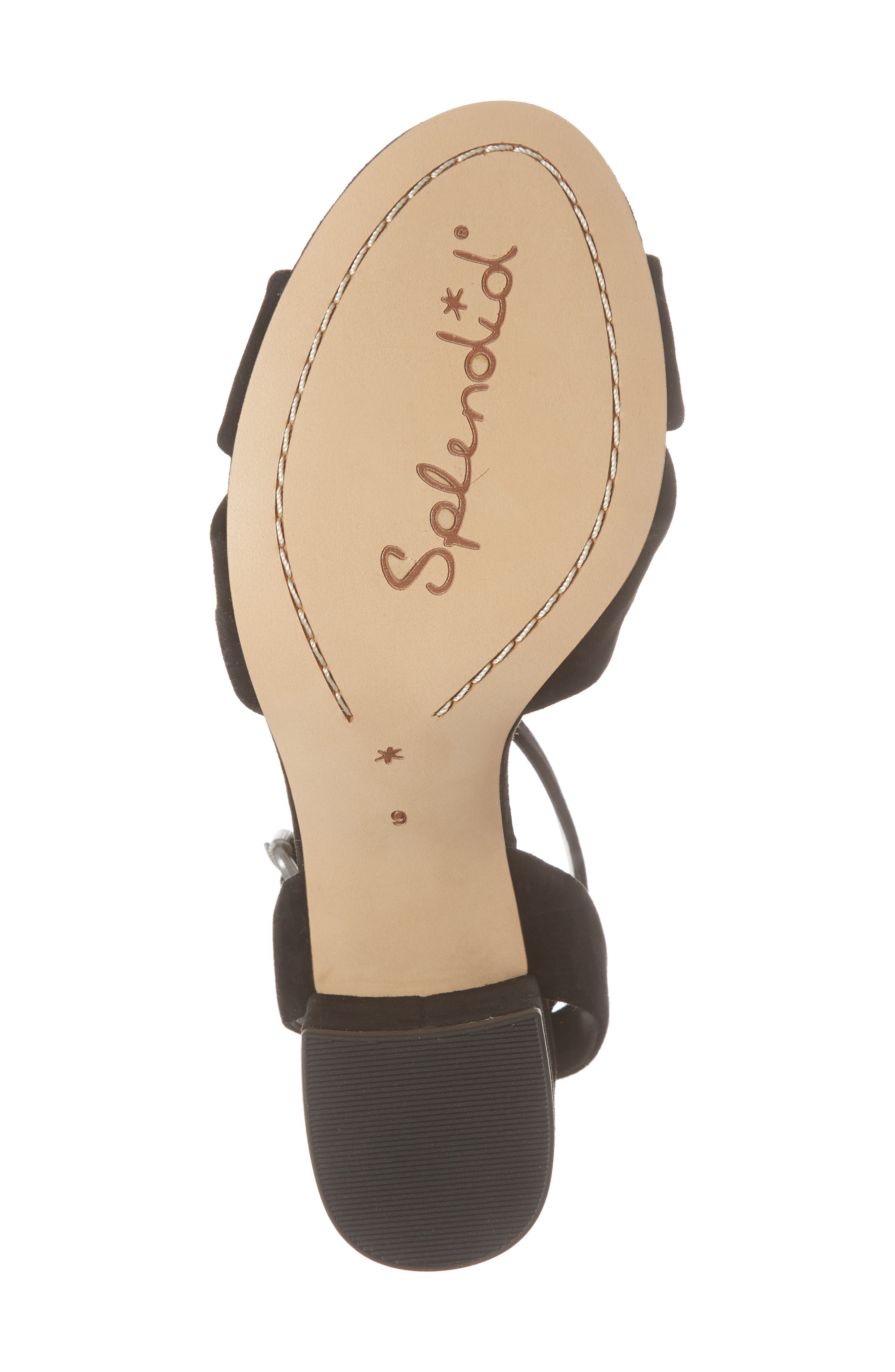Fairy Block Heel Sandal,                             Alternate thumbnail 6, color,                             Black Suede