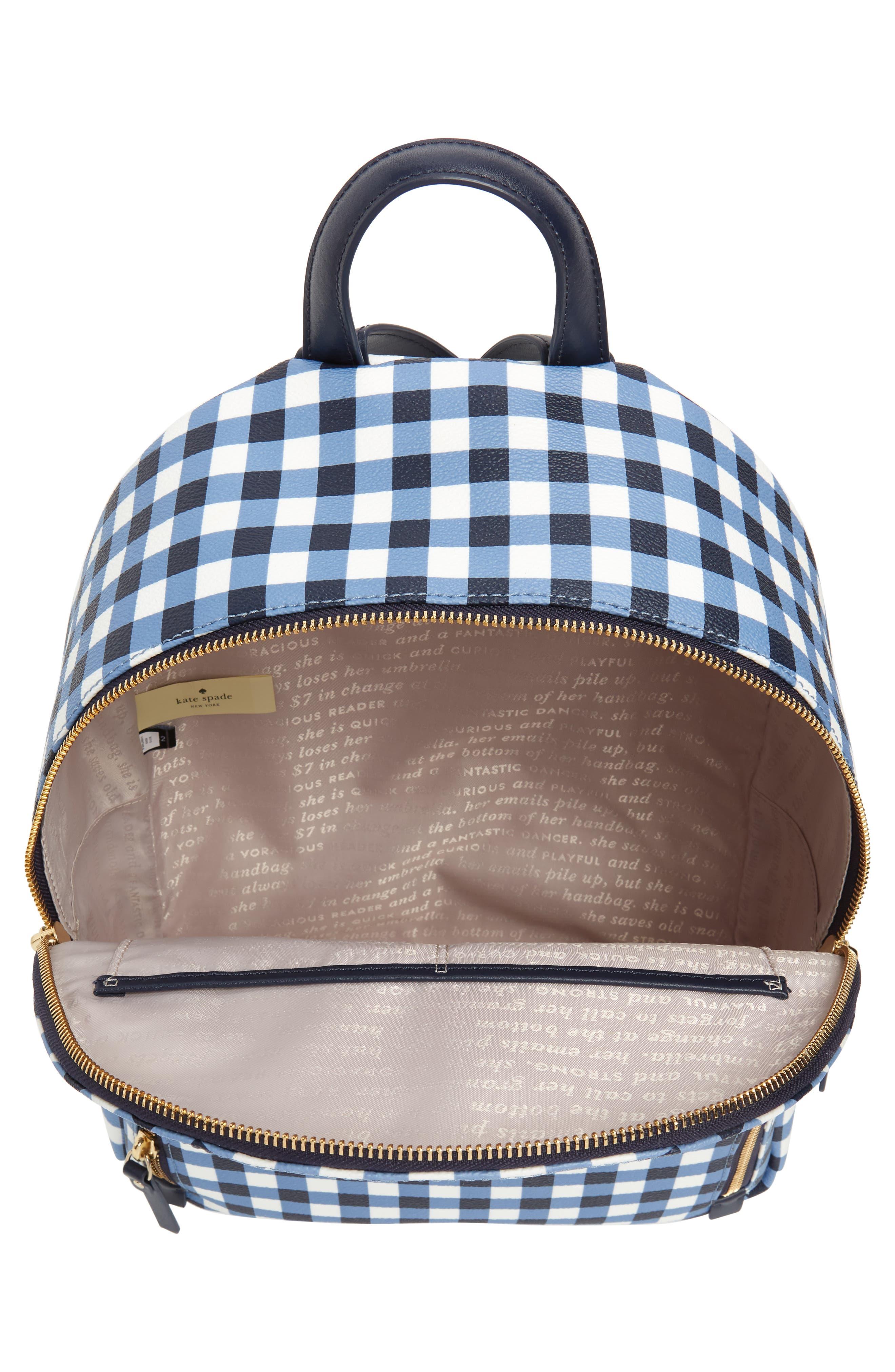 hyde lane hartley gingham backpack,                             Alternate thumbnail 4, color,                             Navy/ White