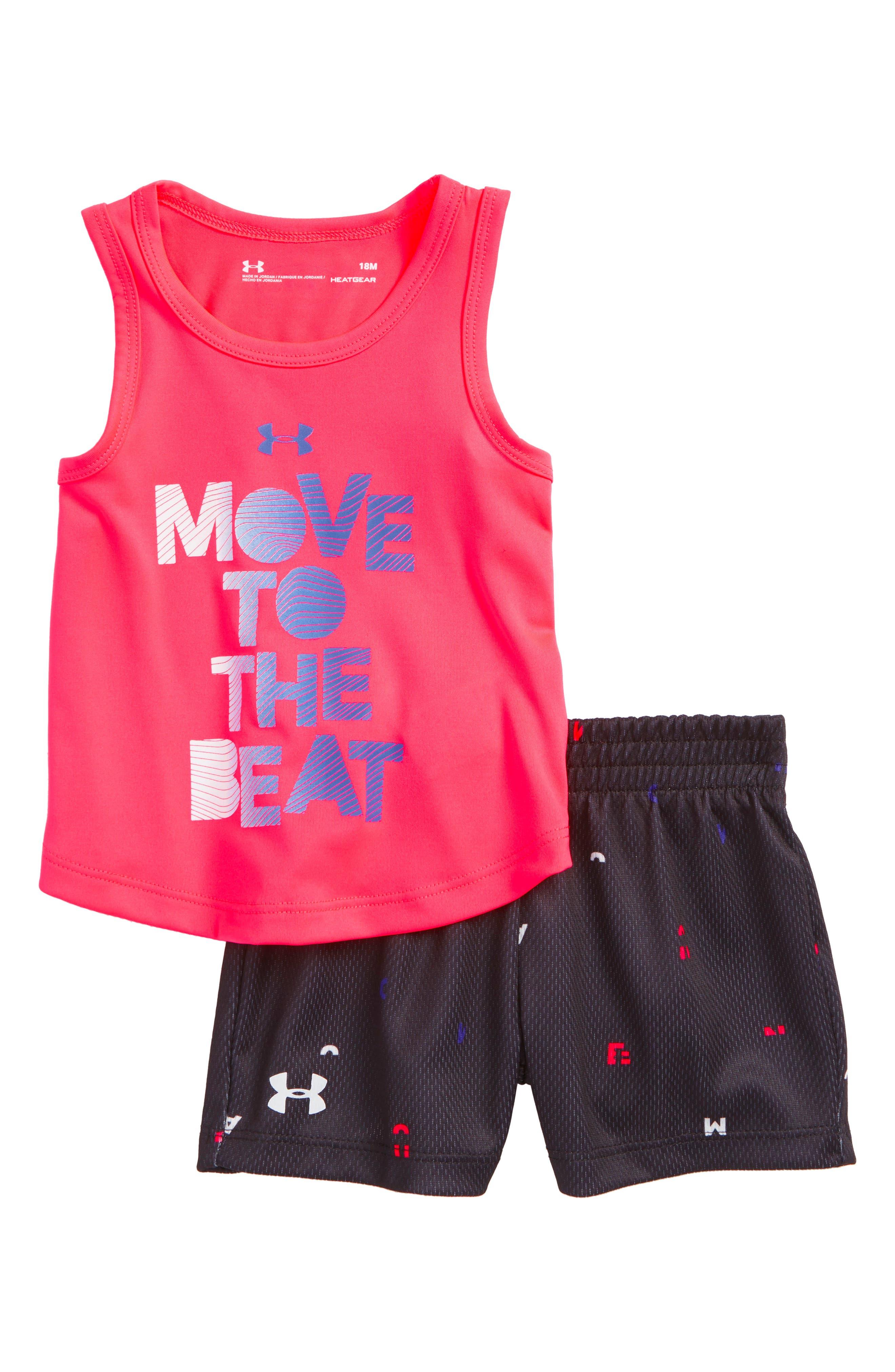 Move to the Beat HeatGear<sup>®</sup> Tank & Mesh Shorts Set,                             Main thumbnail 1, color,                             Penta Pink