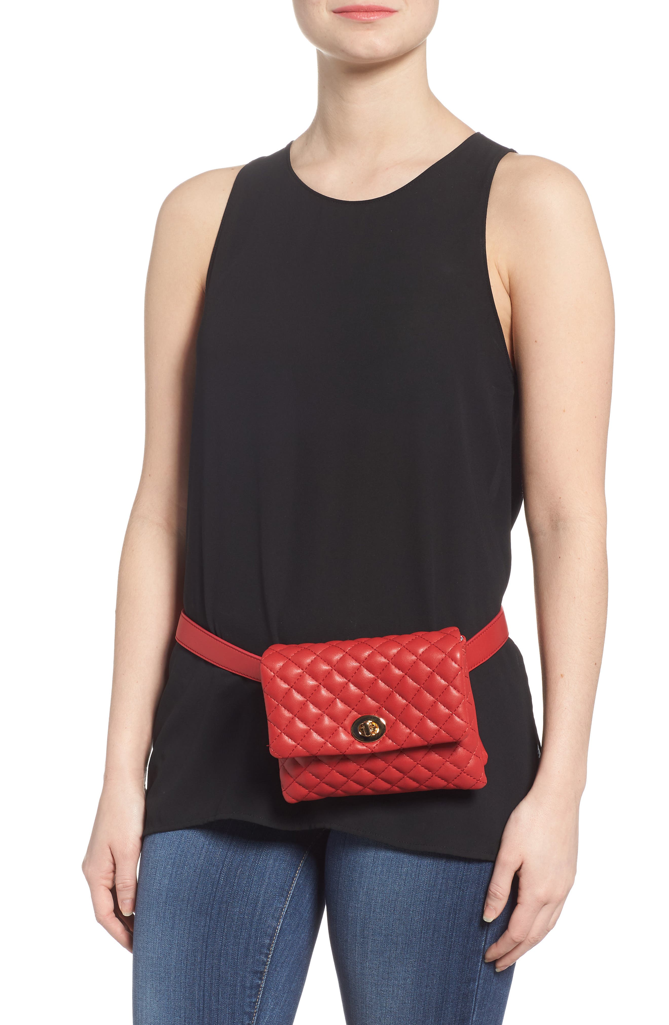 Mali + Lili Quilted Vegan Leather Convertible Belt Bag,                             Alternate thumbnail 3, color,                             Red