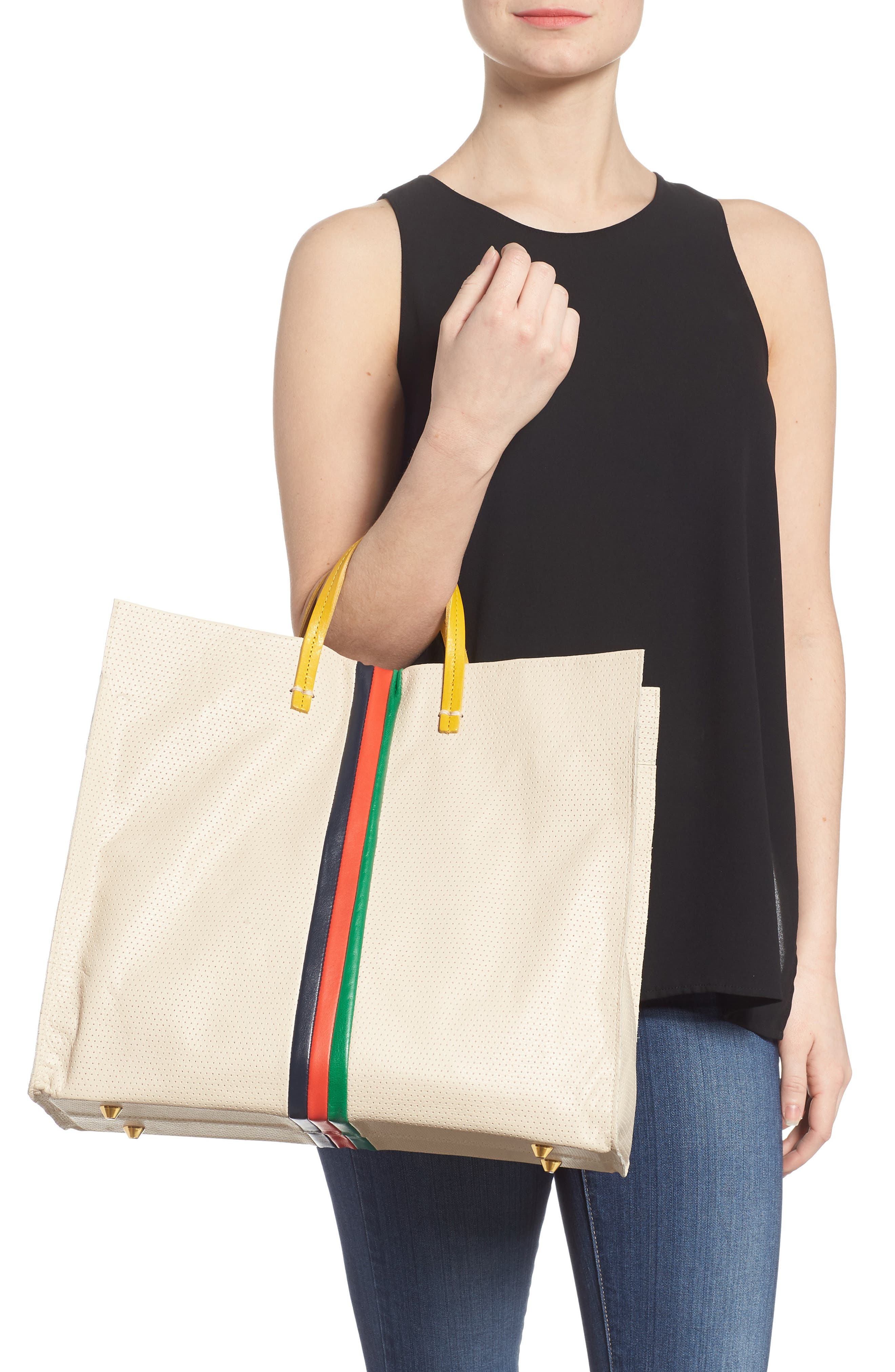 Alternate Image 2  - Clare V. Simple Stripe Perforated Leather Tote
