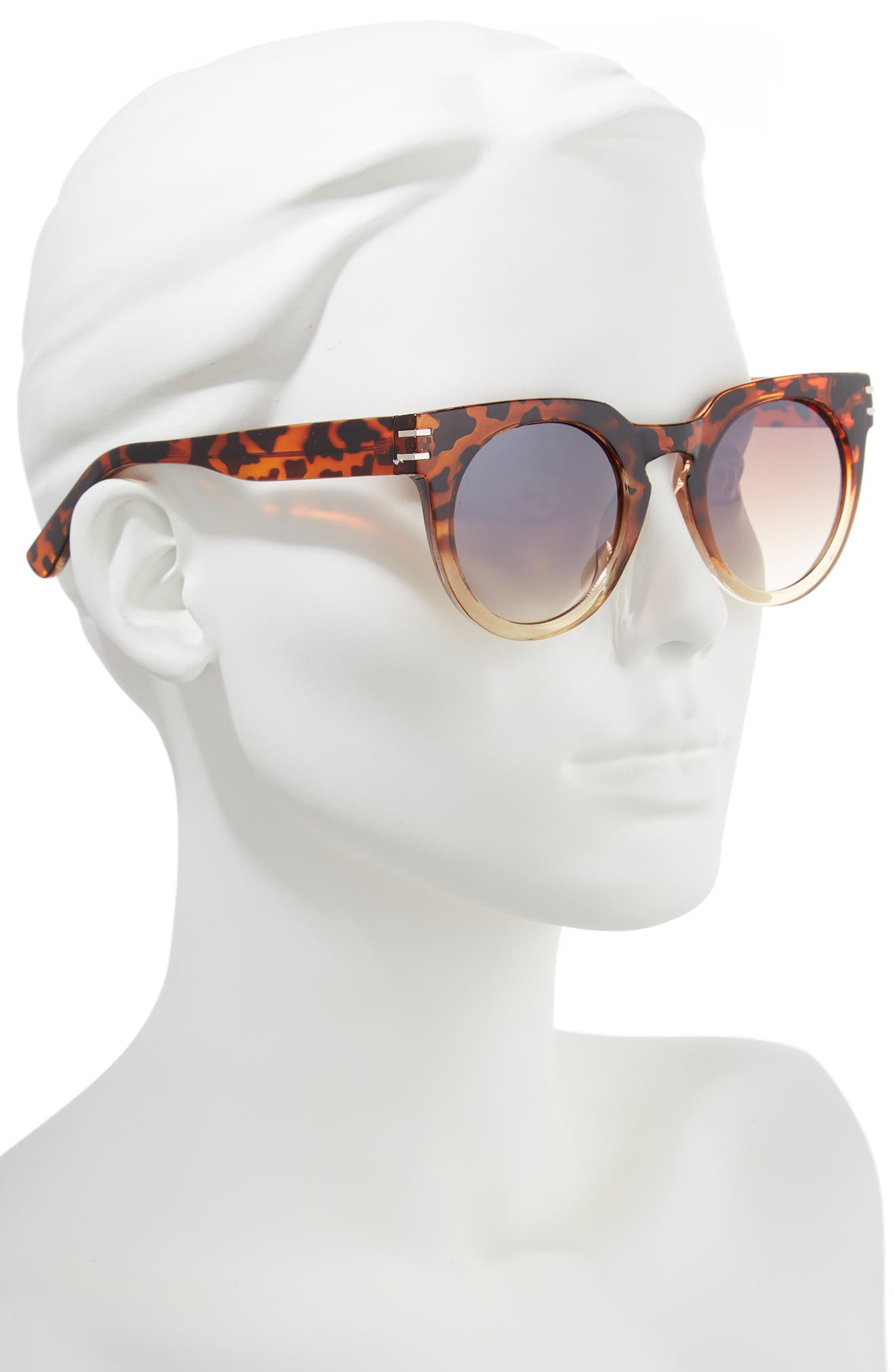 50mm Round Sunglasses,                             Alternate thumbnail 2, color,                             Leopard/ Brown