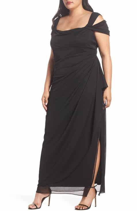4cb0b4232b0 Alex Evenings Cold Shoulder Mesh Gown (Plus Size)