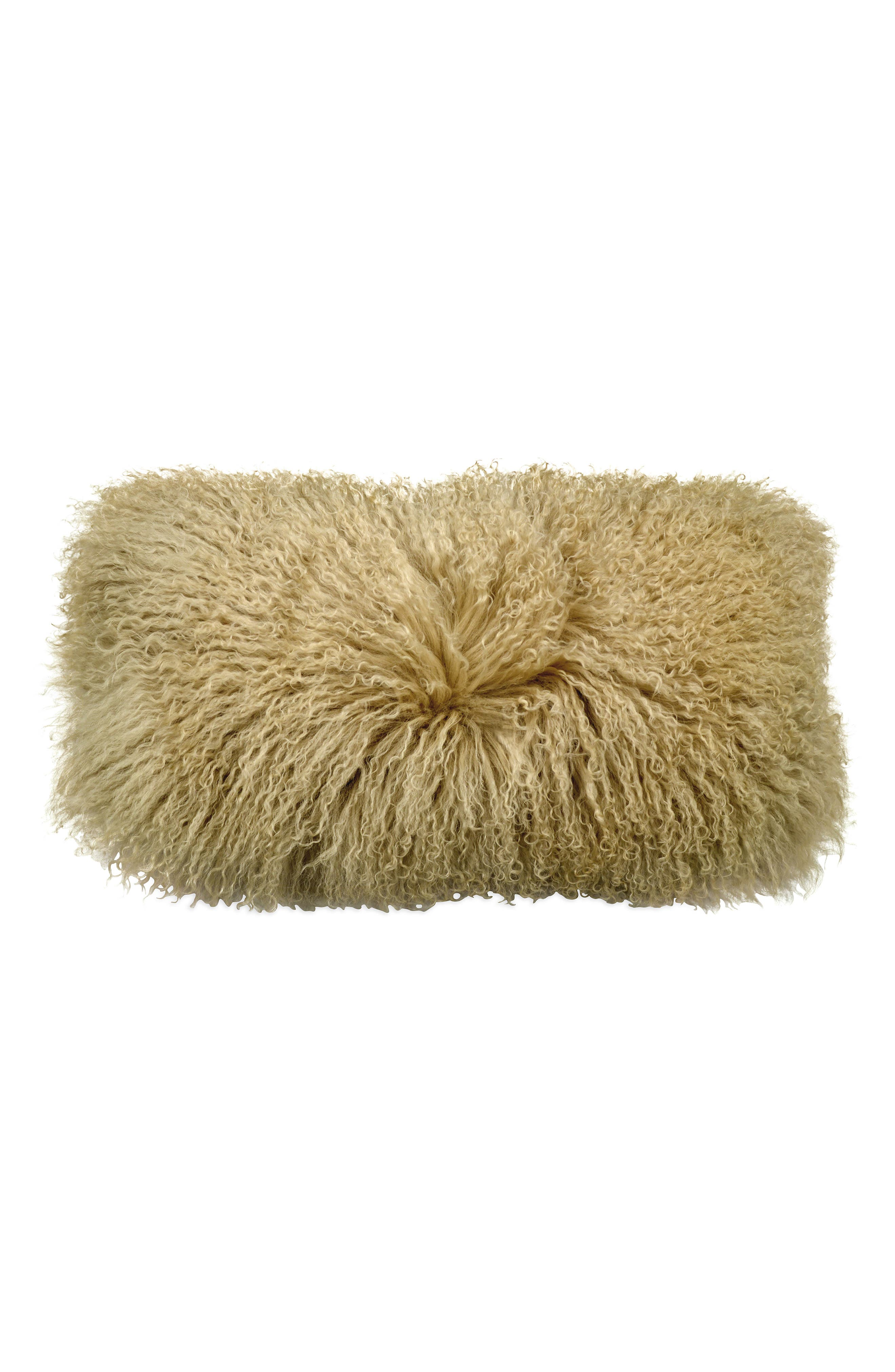Donna Karan Flokati Genuine Shearling Accent Pillow,                         Main,                         color, Gold Dust
