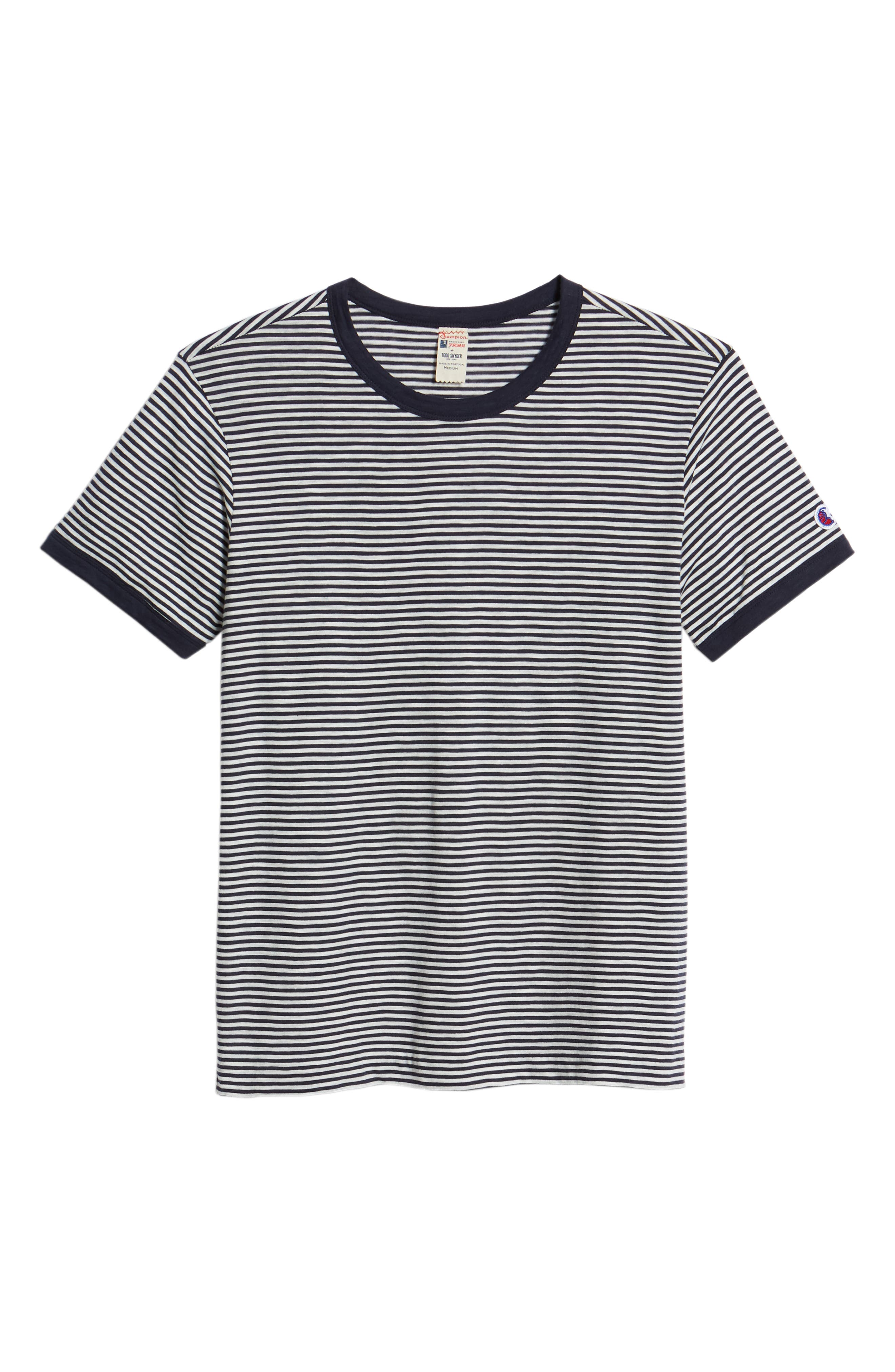 + Champion Stripe T-Shirt,                             Alternate thumbnail 6, color,                             Navy