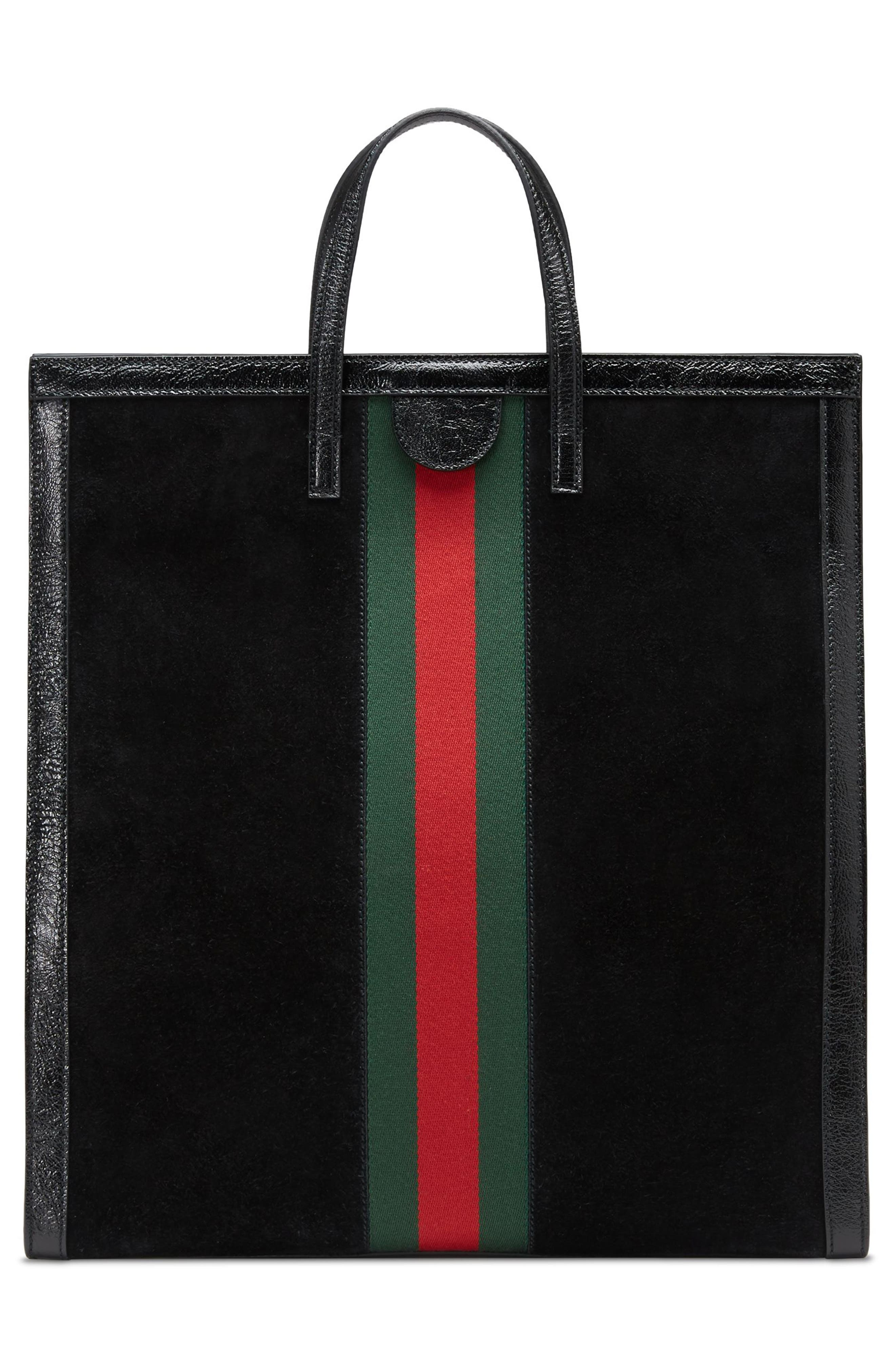 Ophidia House Web Suede Tote,                             Alternate thumbnail 2, color,                             Nero/ Nero/ Vert Red Vert