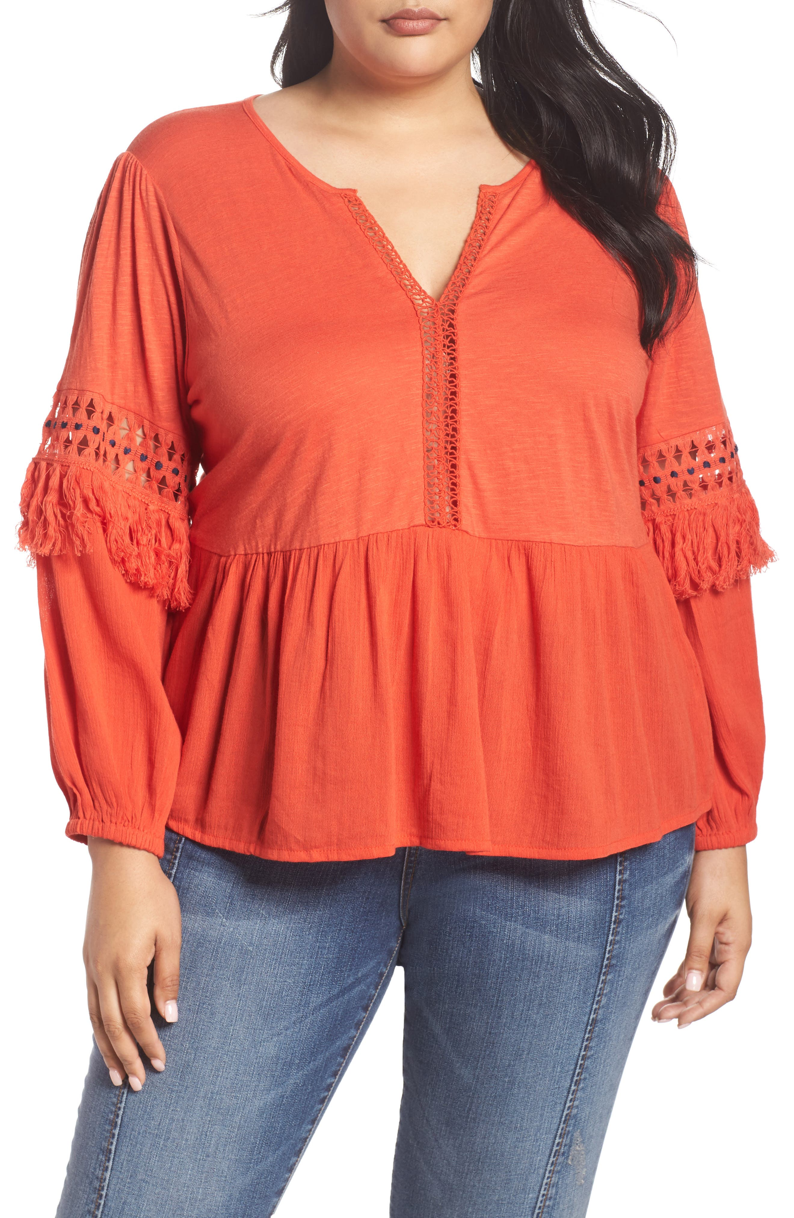 Cutout Peasant Top,                         Main,                         color, Red Clay