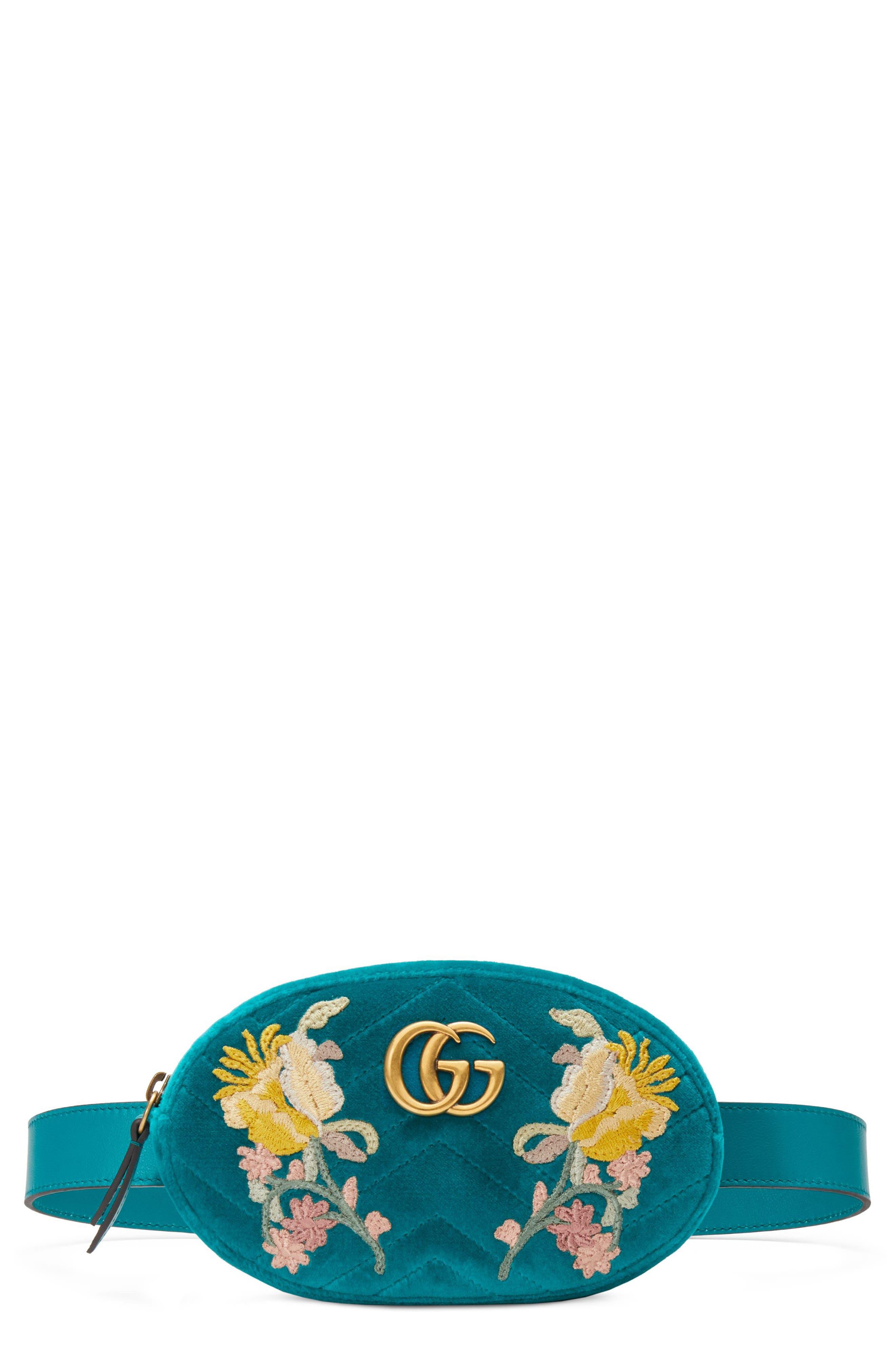 GG Marmont 2.0 Embroidered Velvet Belt Bag,                             Main thumbnail 1, color,                             Pavone/ Pavone/ Cyan Multi