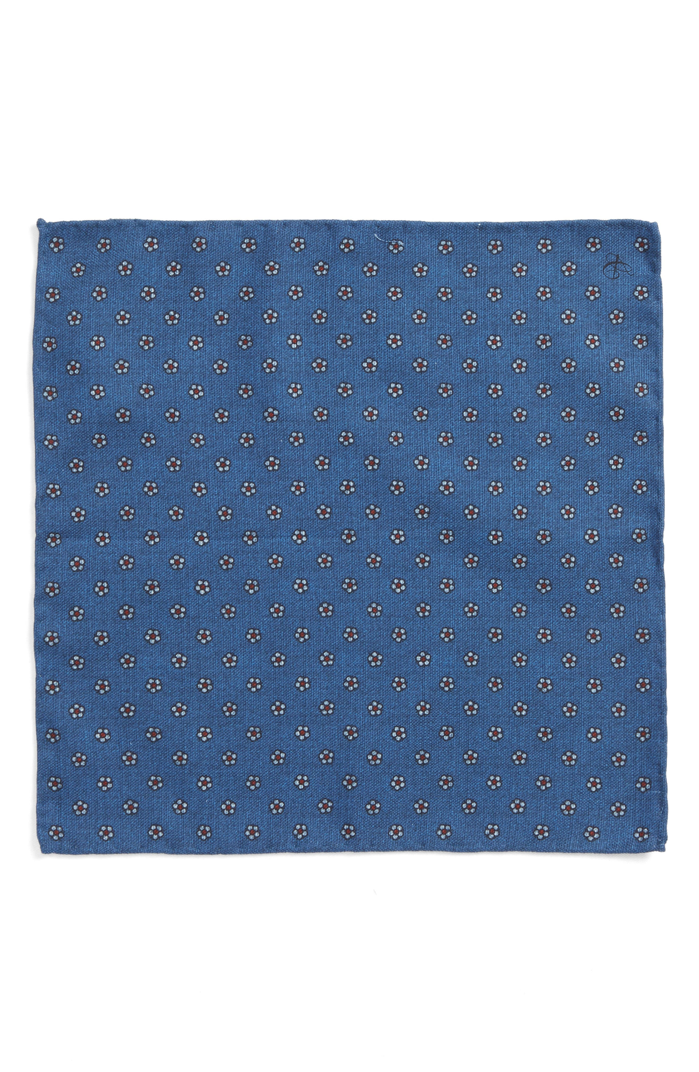 Floral Medallion Pocket Square,                             Alternate thumbnail 2, color,                             Blue