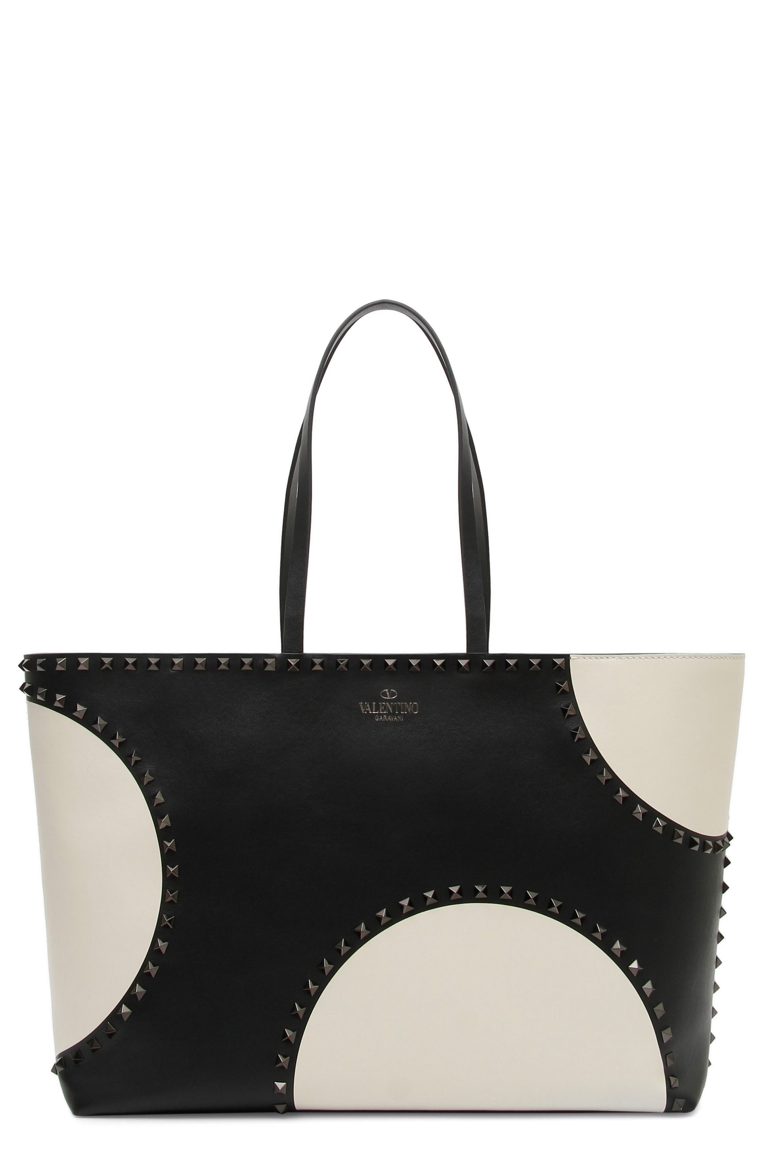 Rockstud Large Dot Leather Tote,                         Main,                         color, Black/ White