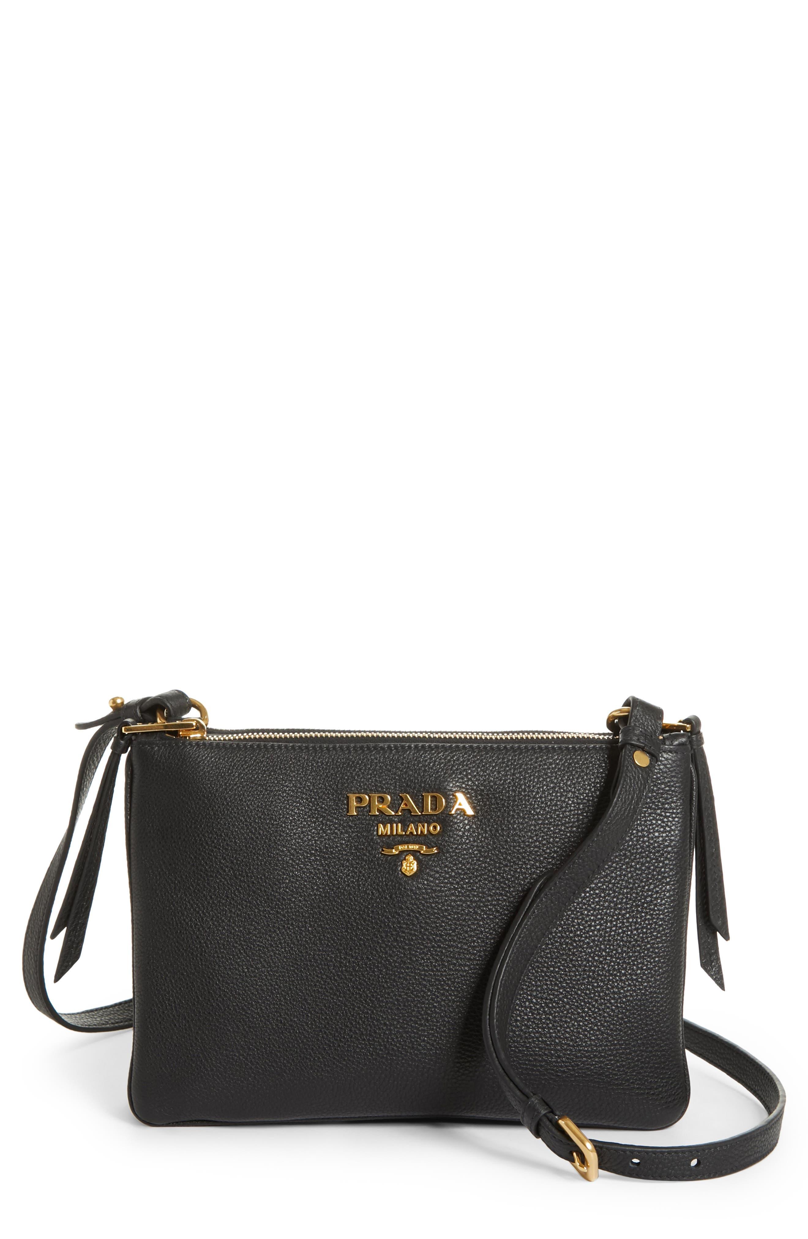 Main Image - Prada Vitello Daino Double Compartment Leather Crossbody Bag