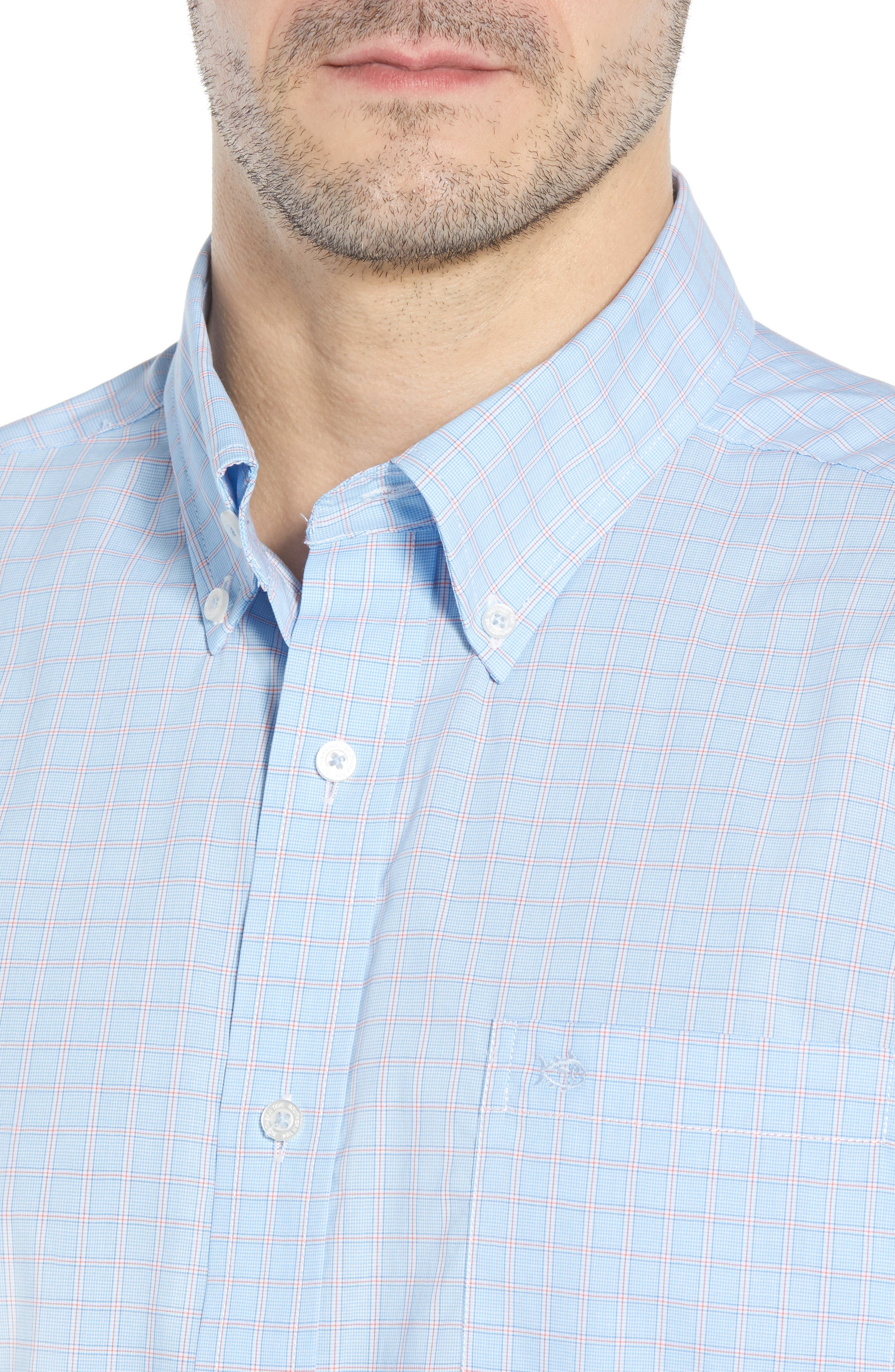 Buck Island Regular Fit Stretch Check Sport Shirt,                             Alternate thumbnail 2, color,                             Blue Stream