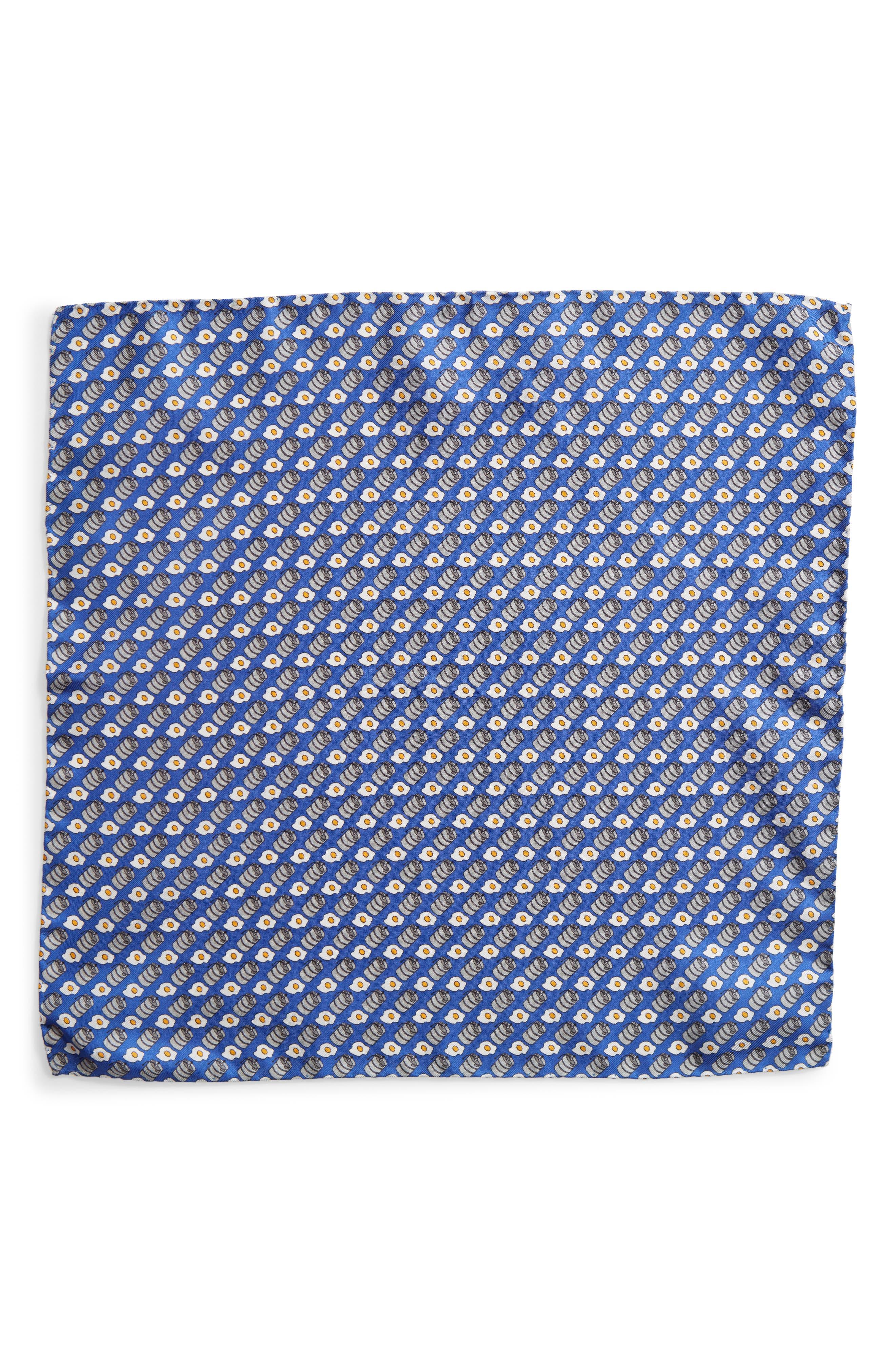 Kegs & Eggs Silk Pocket Square,                             Alternate thumbnail 2, color,                             Blue