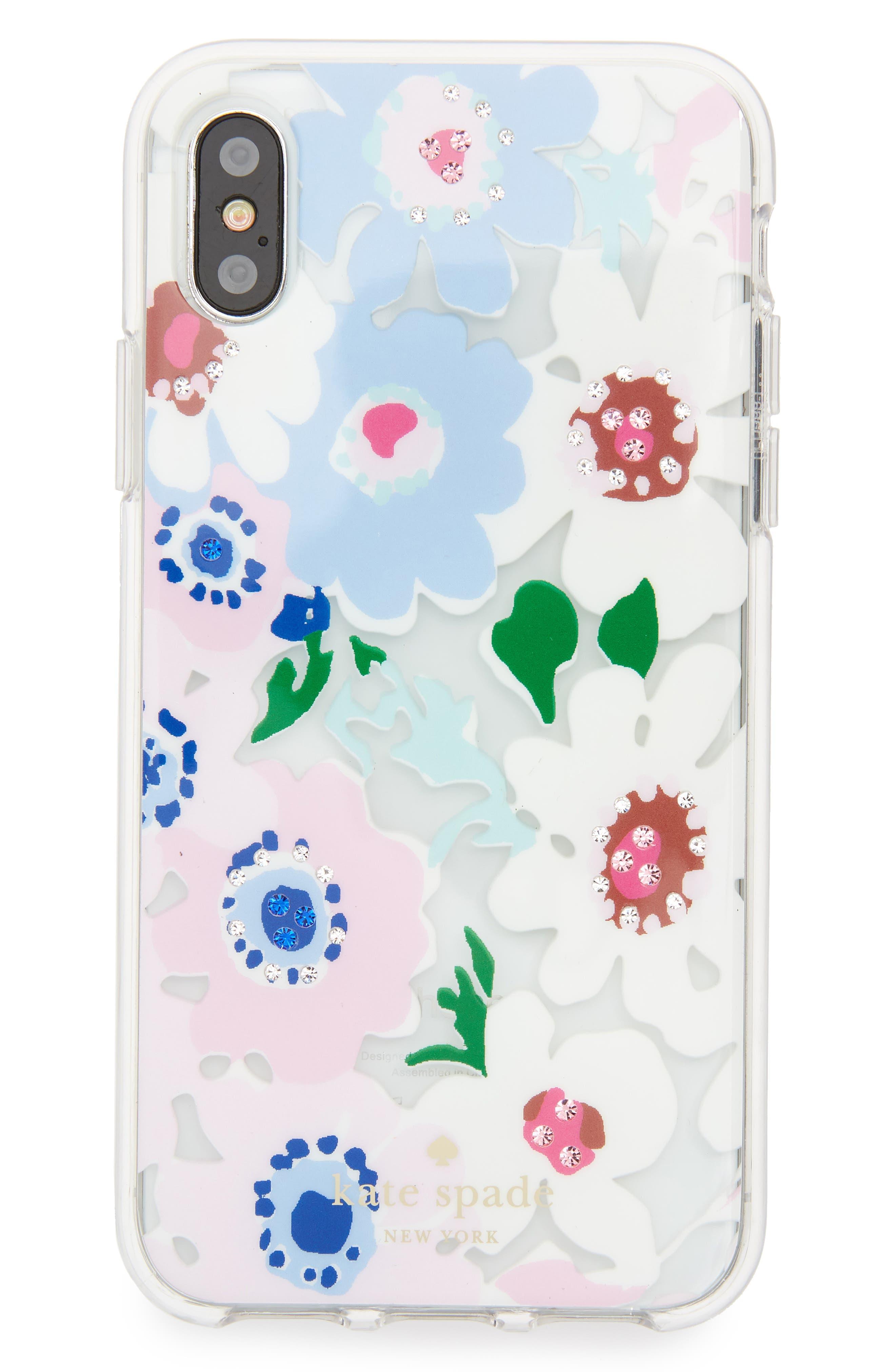 jewel daisy garden iPhone X case,                             Main thumbnail 1, color,                             Clear Multi